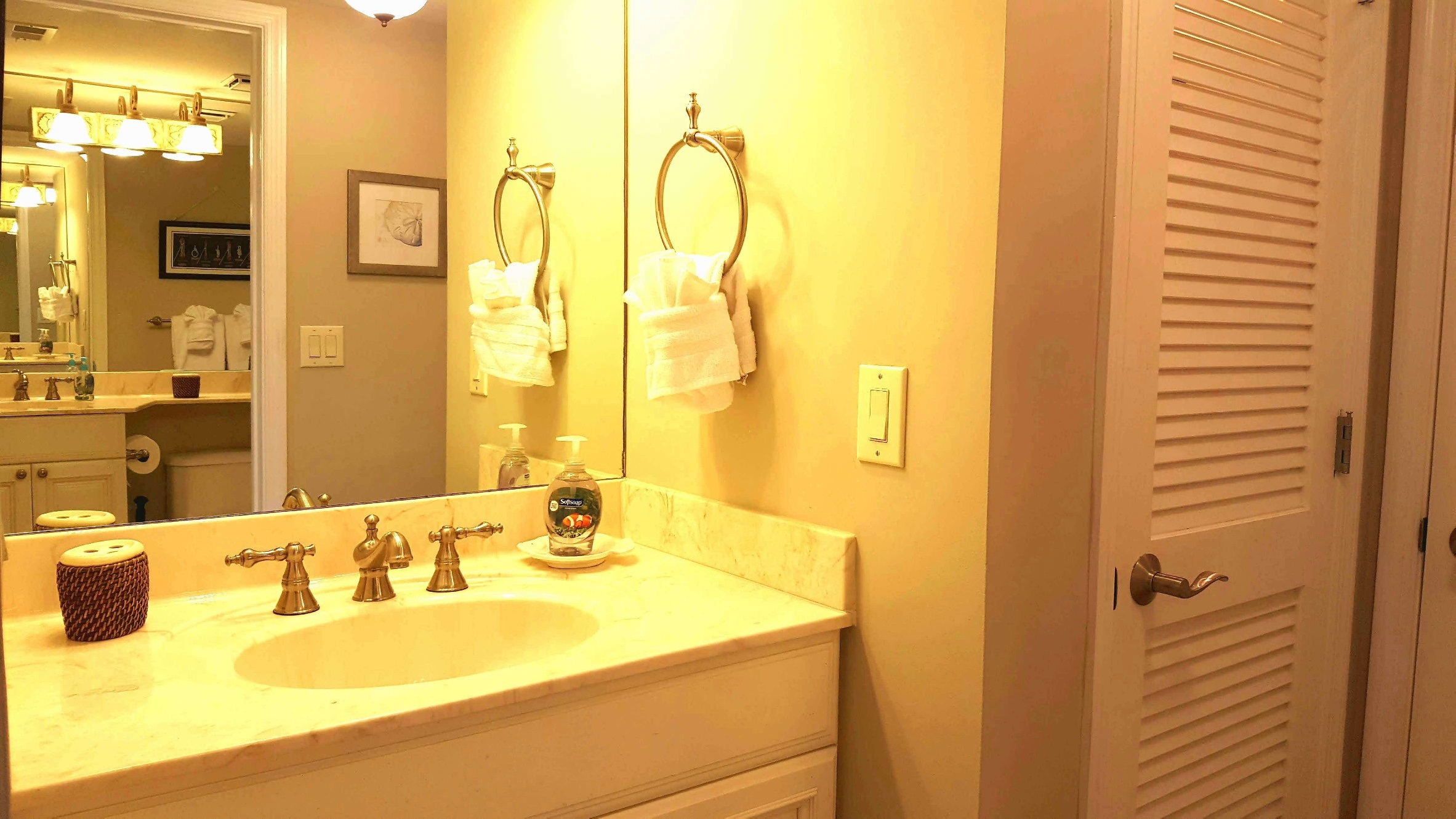 Vanity area adjacent to second bedroom, opposite second bath room. (Coat closet and laundry closet doors to the right)