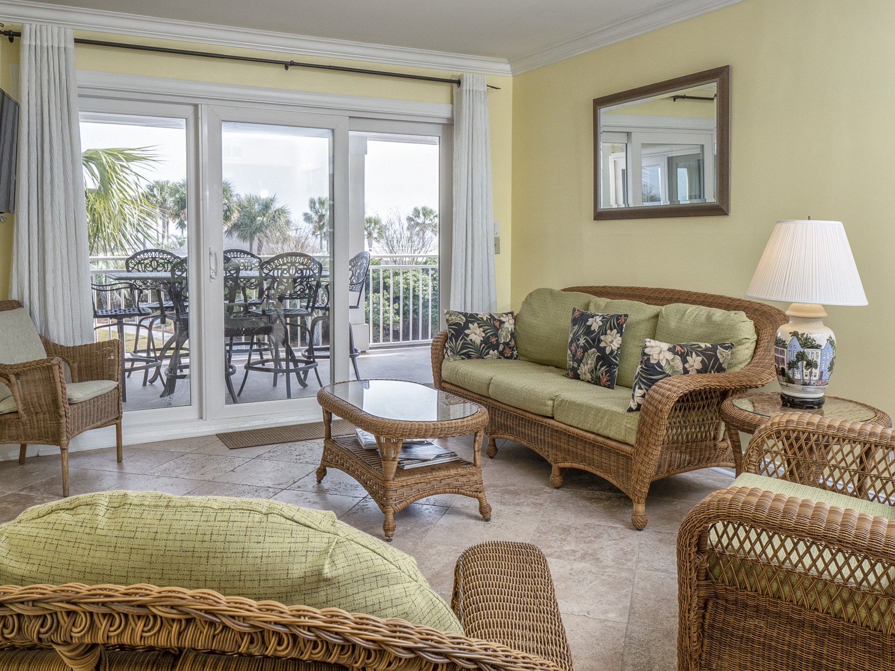 Sliding doors to the deck highlight the natural beauty of Seabrook