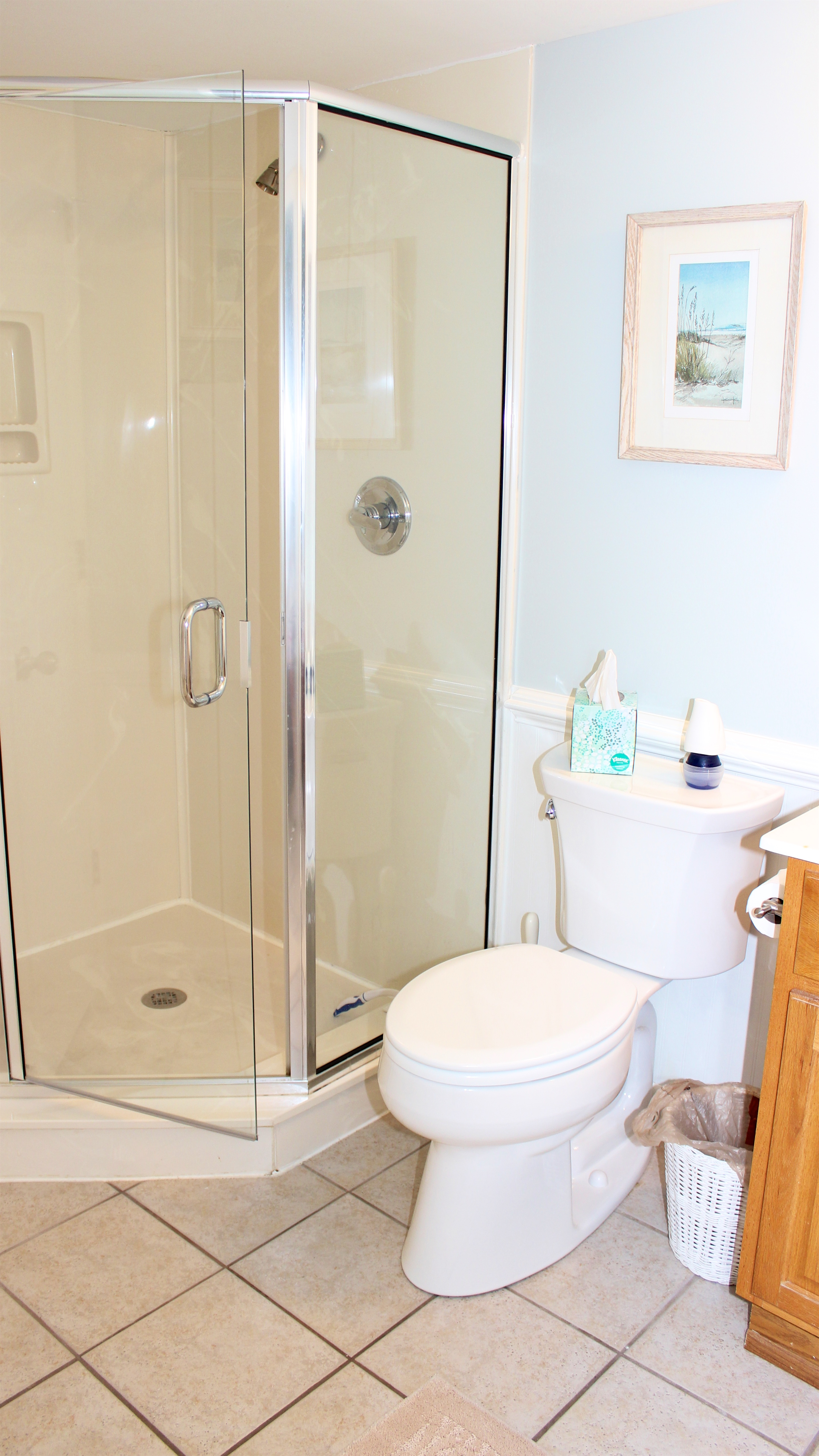 The bathroom features a walk in shower.