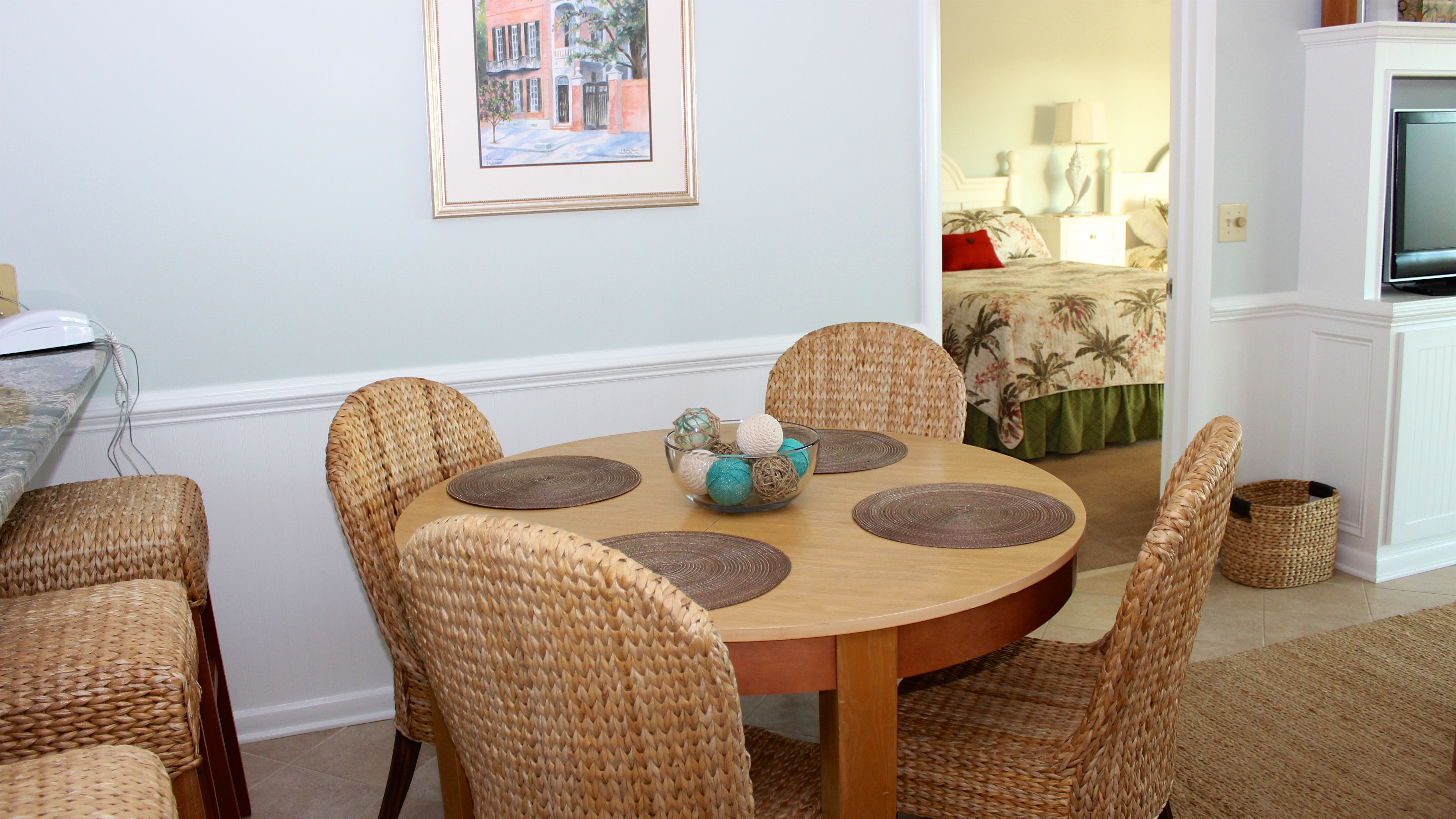 Share stories from your day while dining around the table for four.