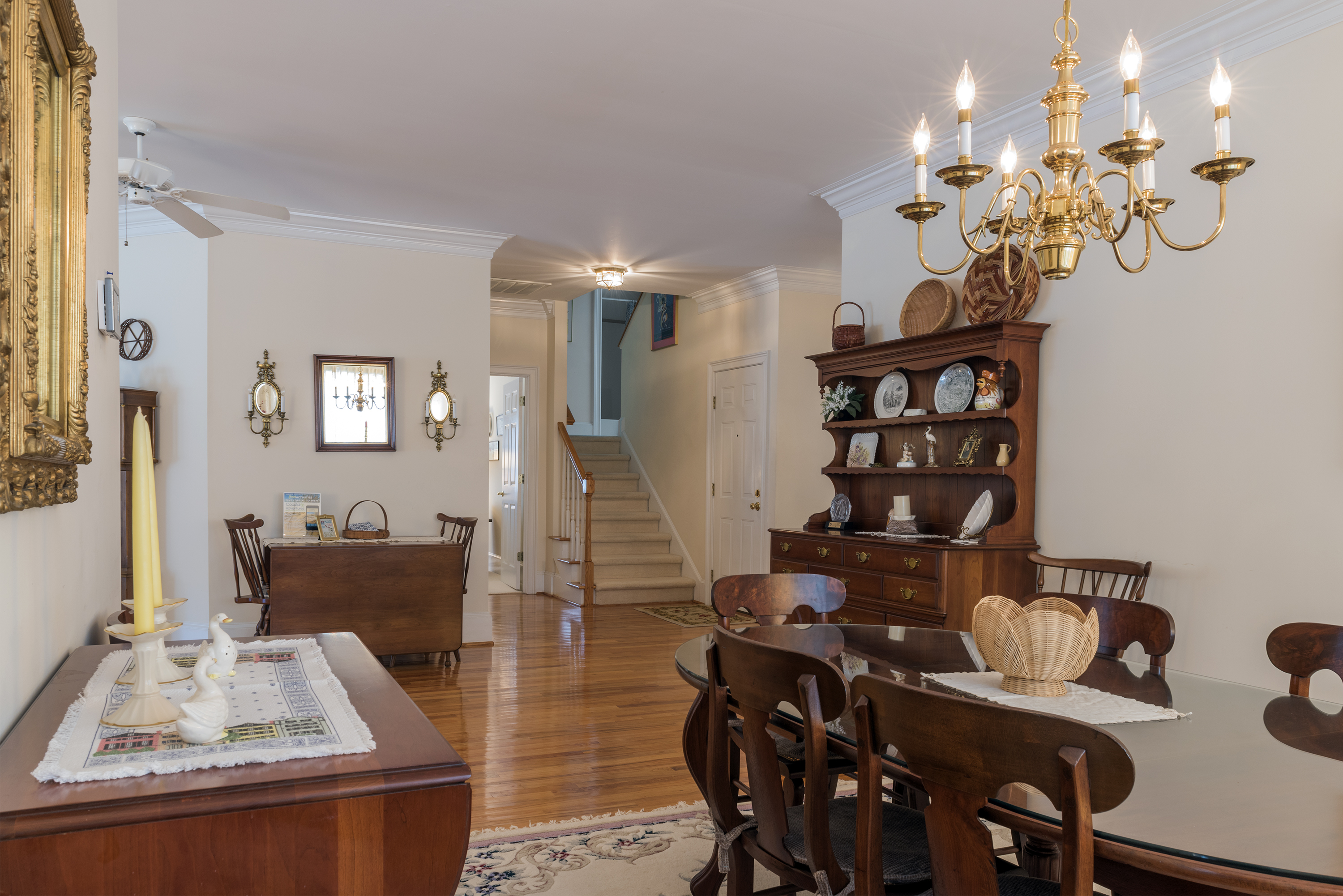 The formal dining room is off the main entry hall.