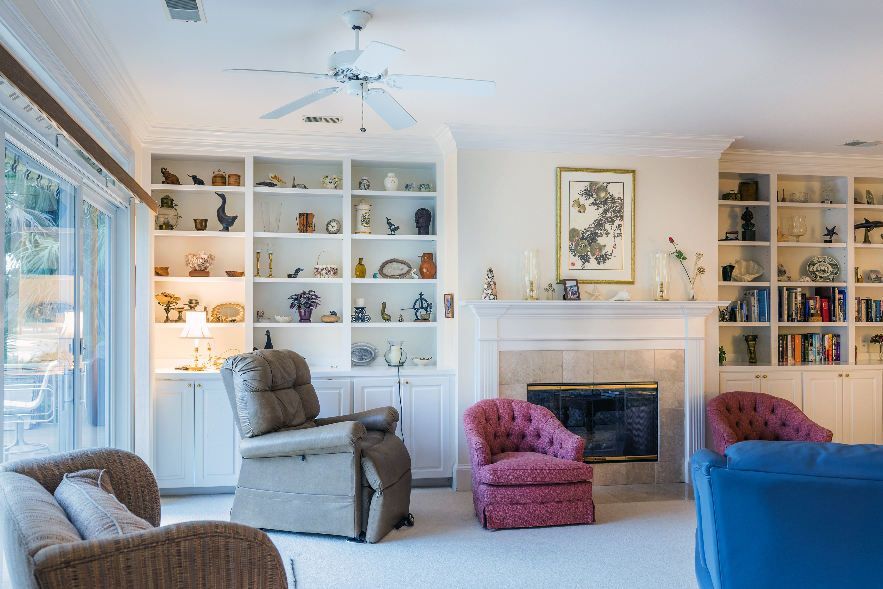 If you need quieter time, there is plenty of seating room in the living room.  The sliders provide captivating golf course views!