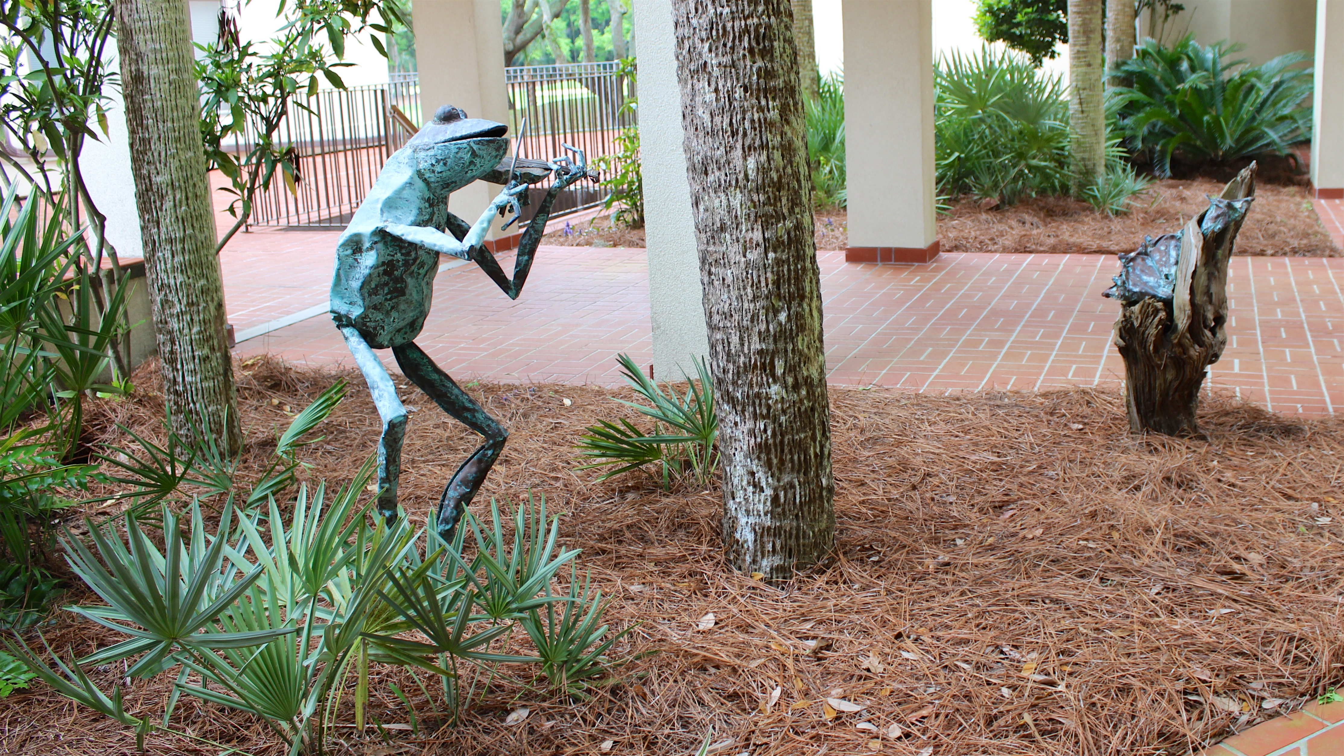 You will love the whimsical bronze statues that grace the courtyard.