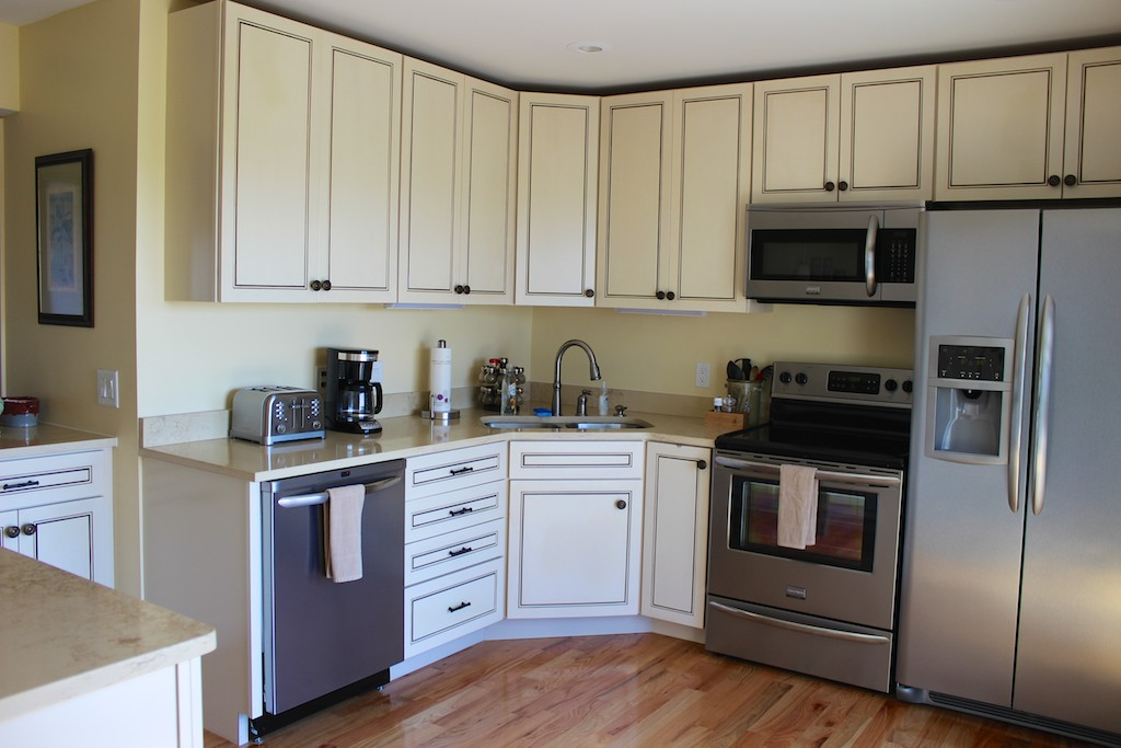 The kitchen is open into the living area. It has been beautifully renovated.