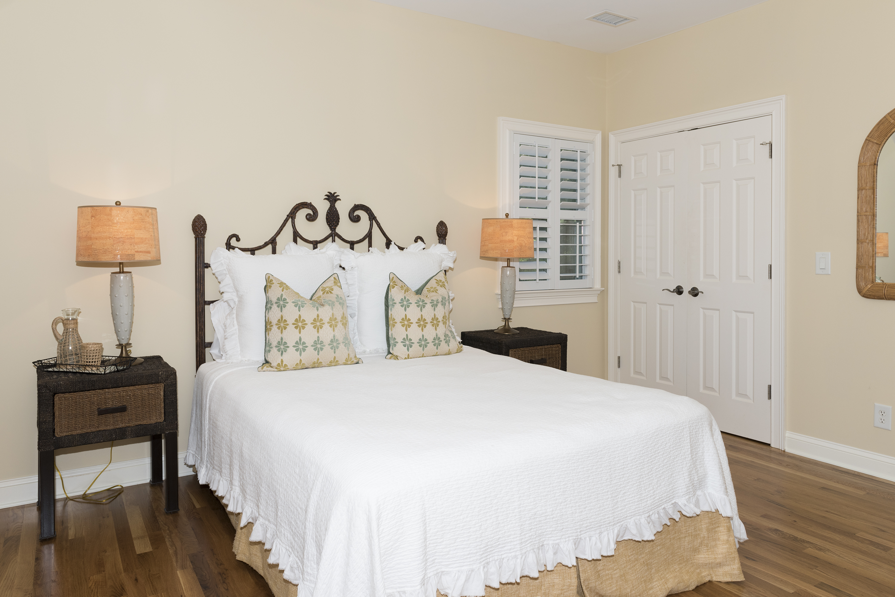 The third bedroom is on the second floor and has a comfortable queen size bed.