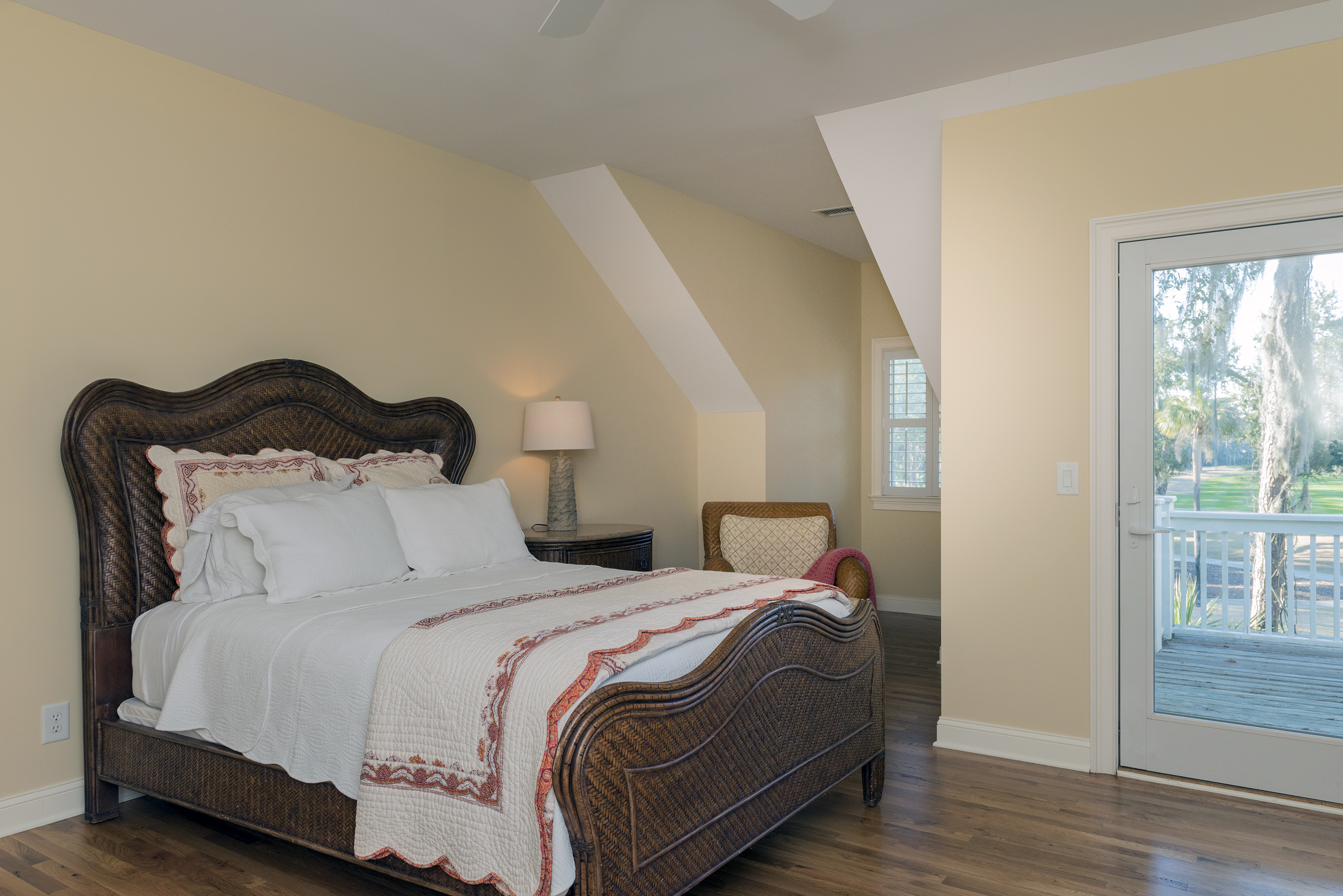 A queen size bedroom is on the second floor and has access to the deck.
