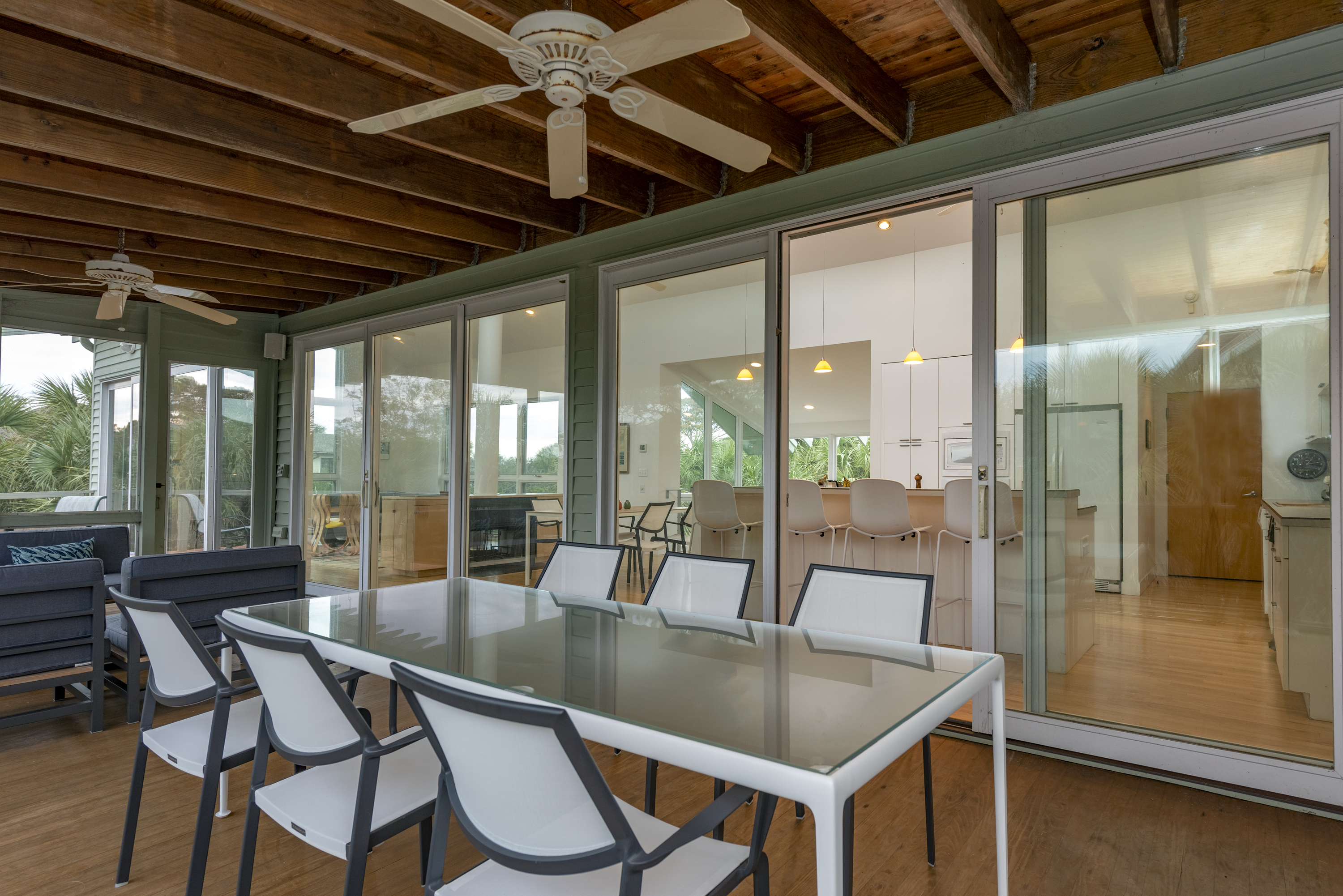 Beautiful sliding doors from living area to screened porch