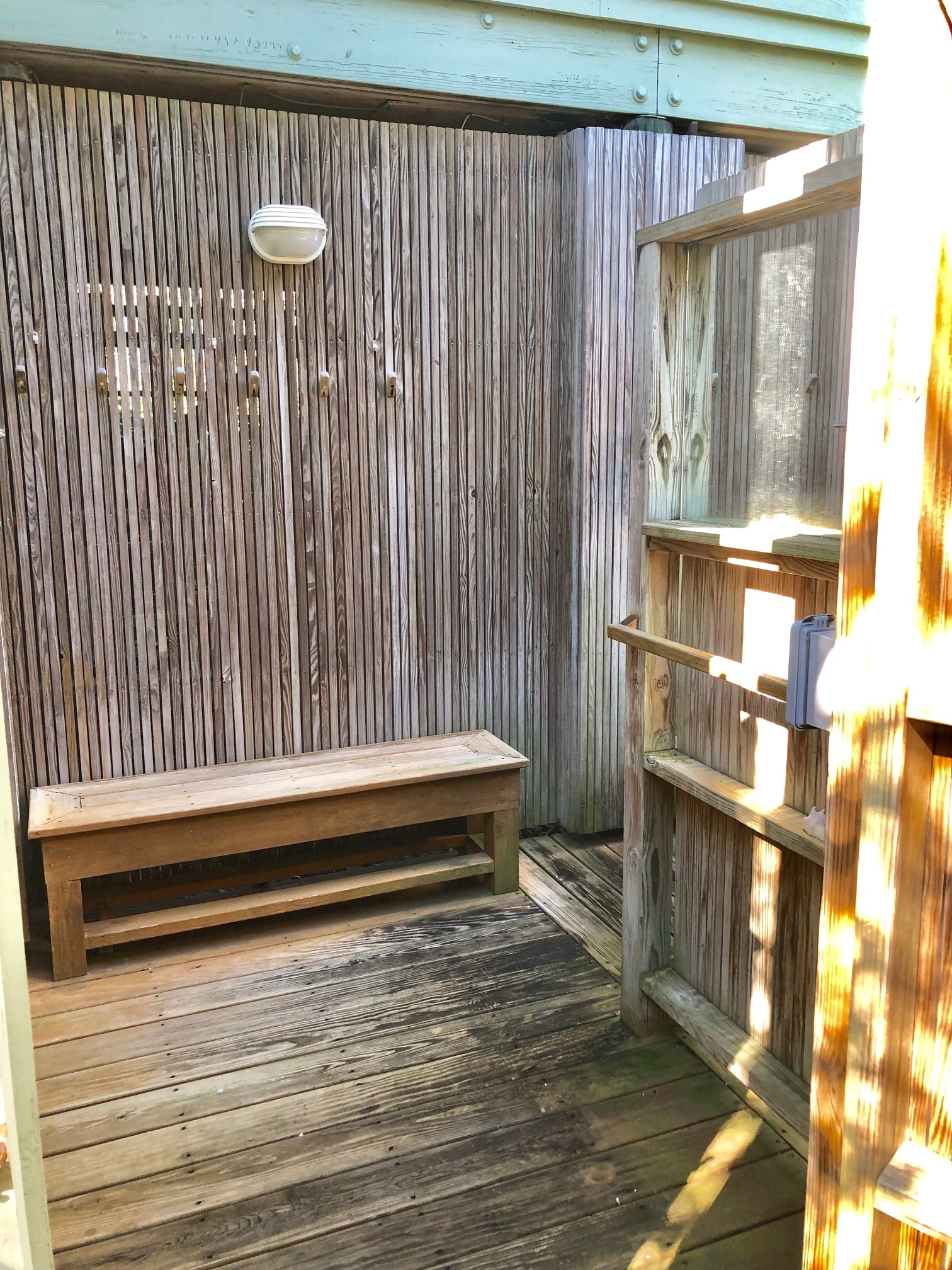 Outdoor changing and shower area