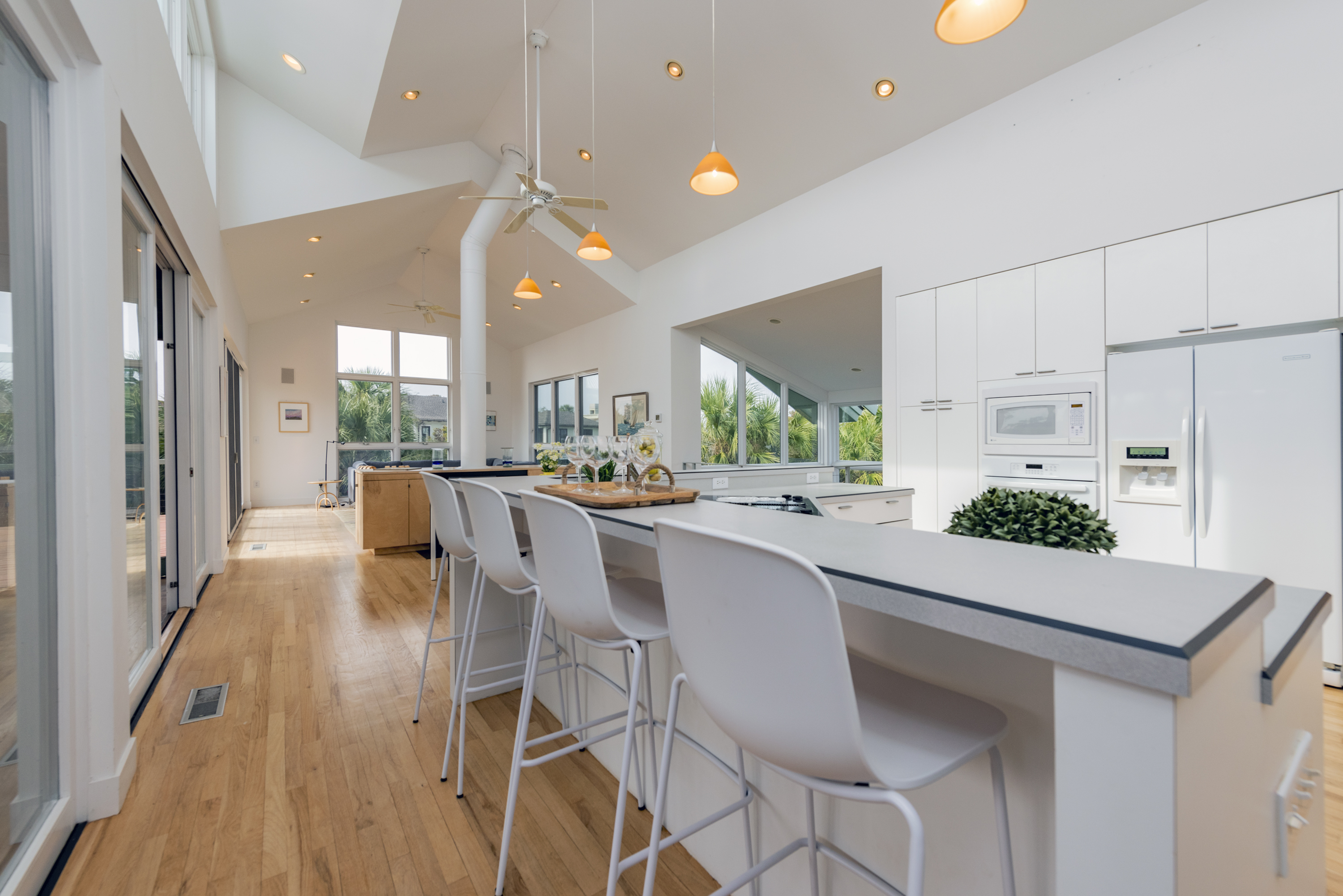 Reverse Floor plan with large, open kitchen on upper level