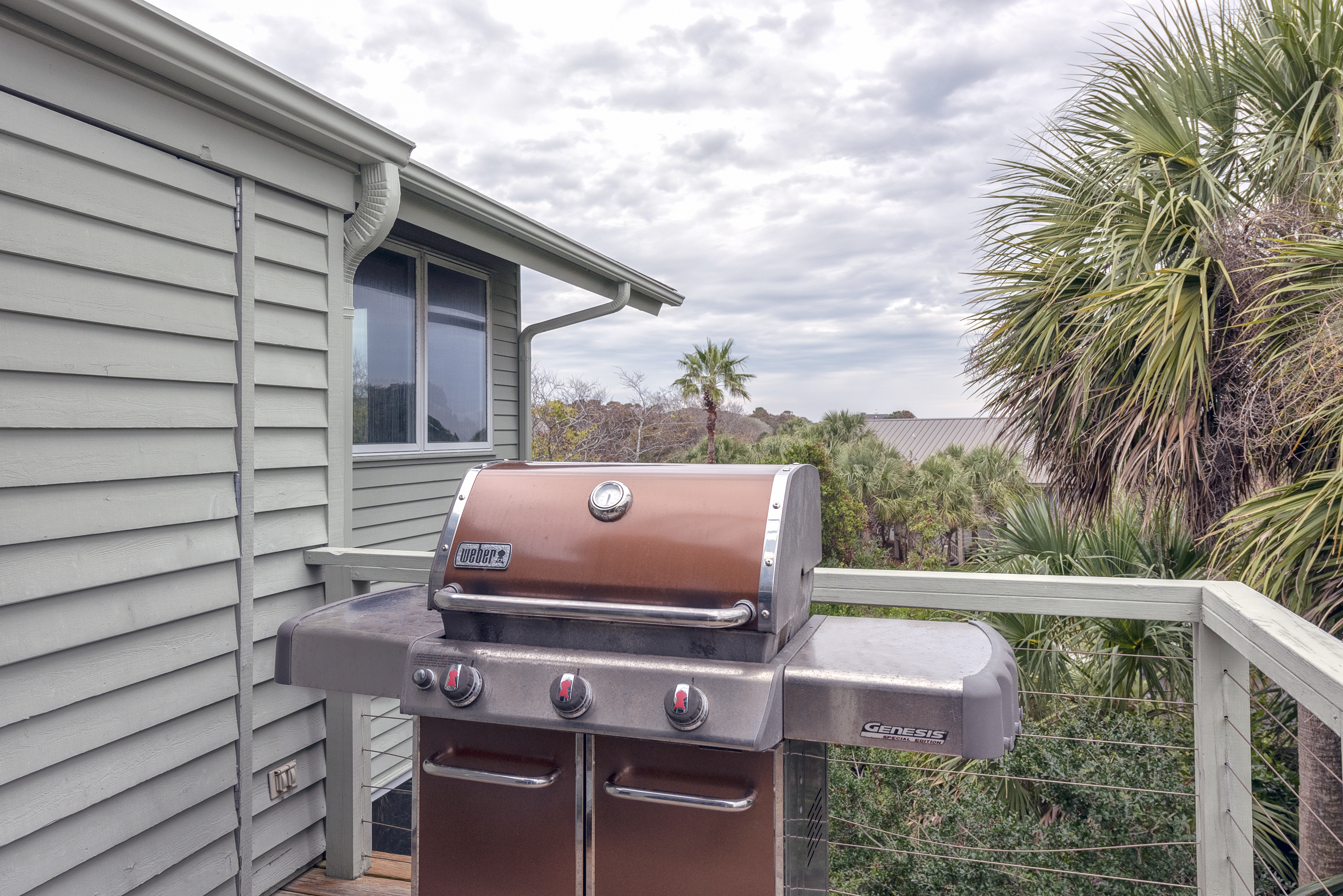 Weber propane grill outside of screened porch