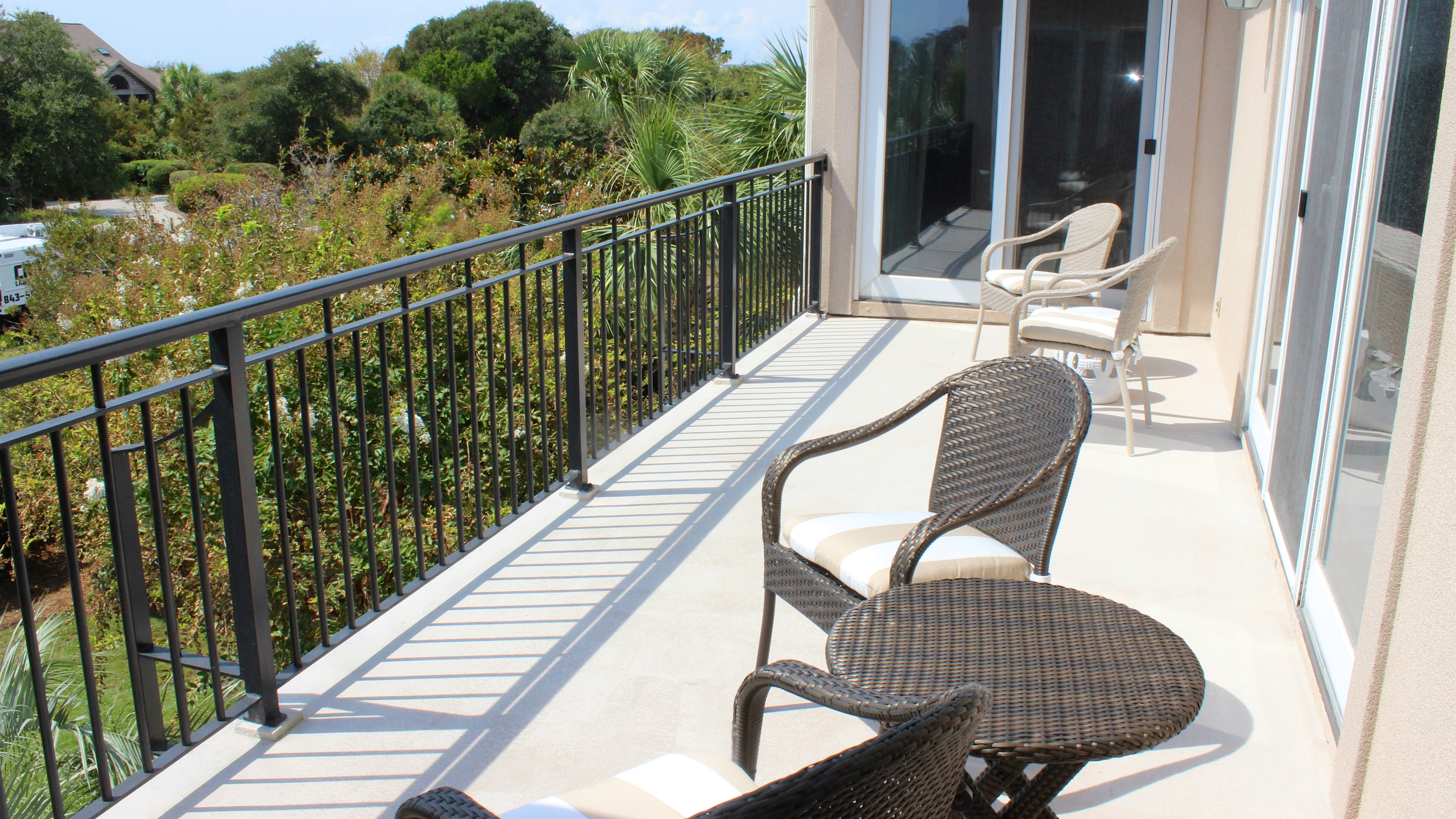 The deck is accessible from the living room, dining area and master bedroom.