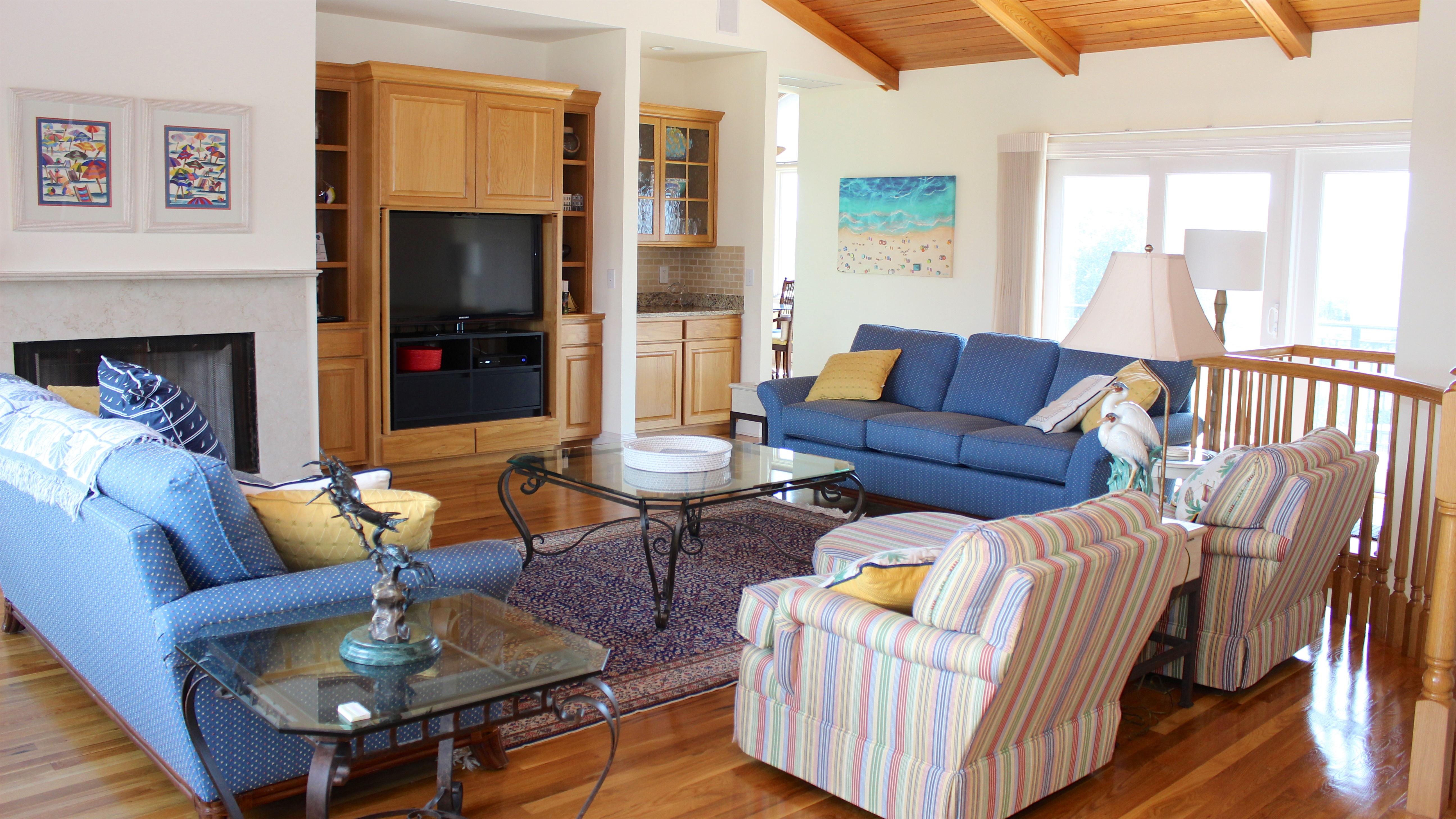 Head upstairs to the great room, kitchen, and master bedroom.