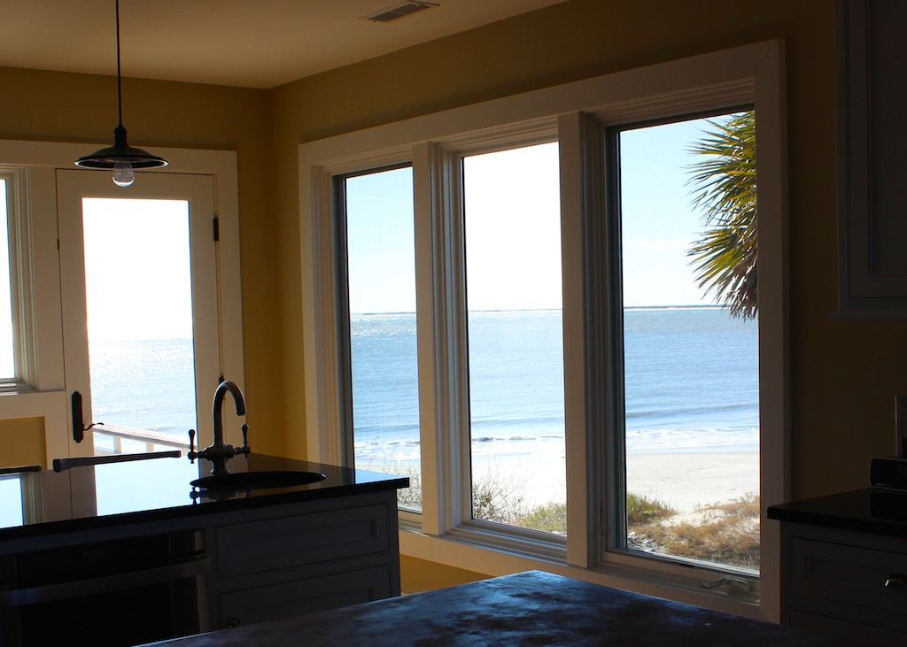 There are views of the beach and ocean from every part of this great room and kitchen.