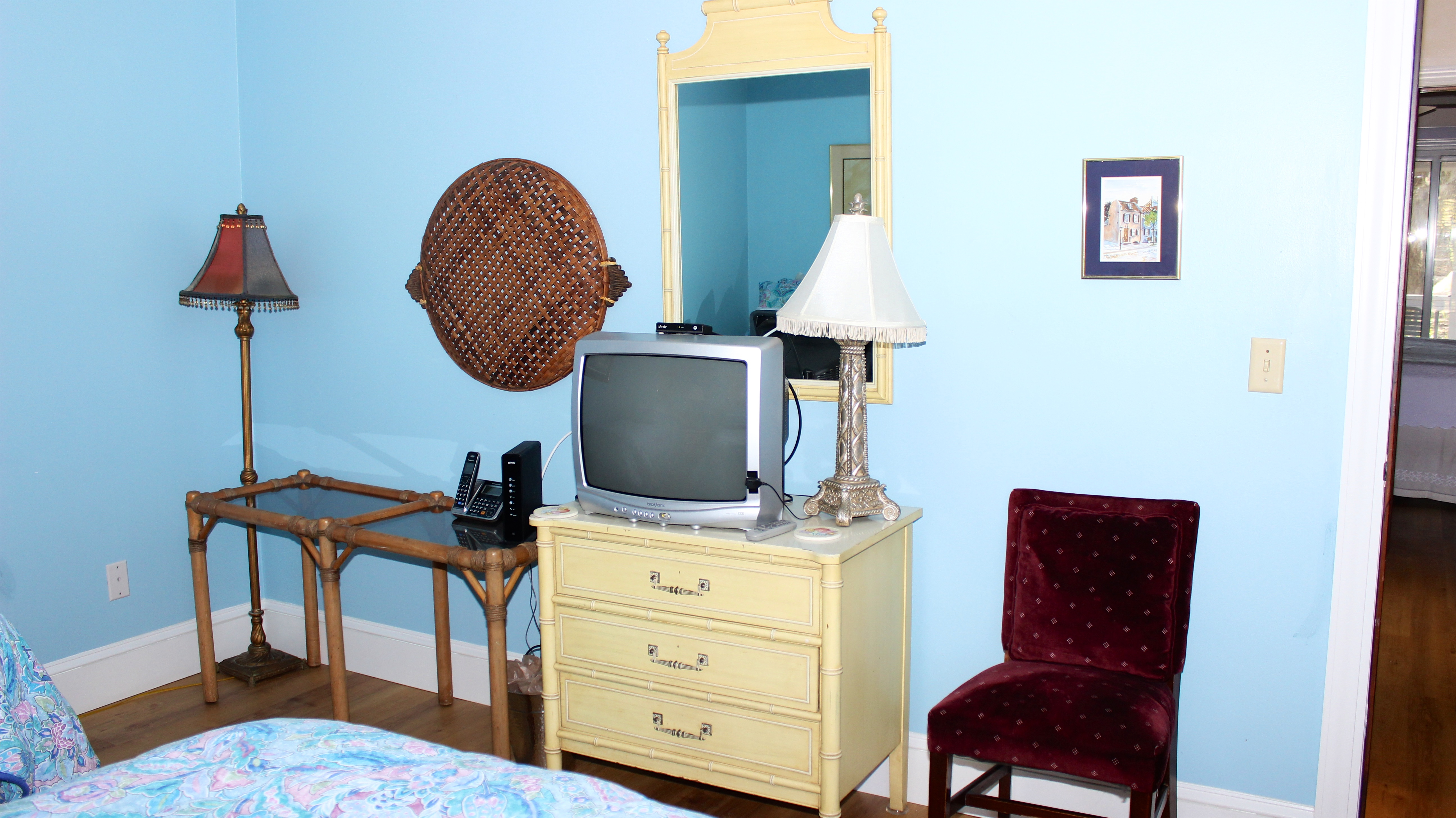 It has easy access to the hall  bathroom and TV.