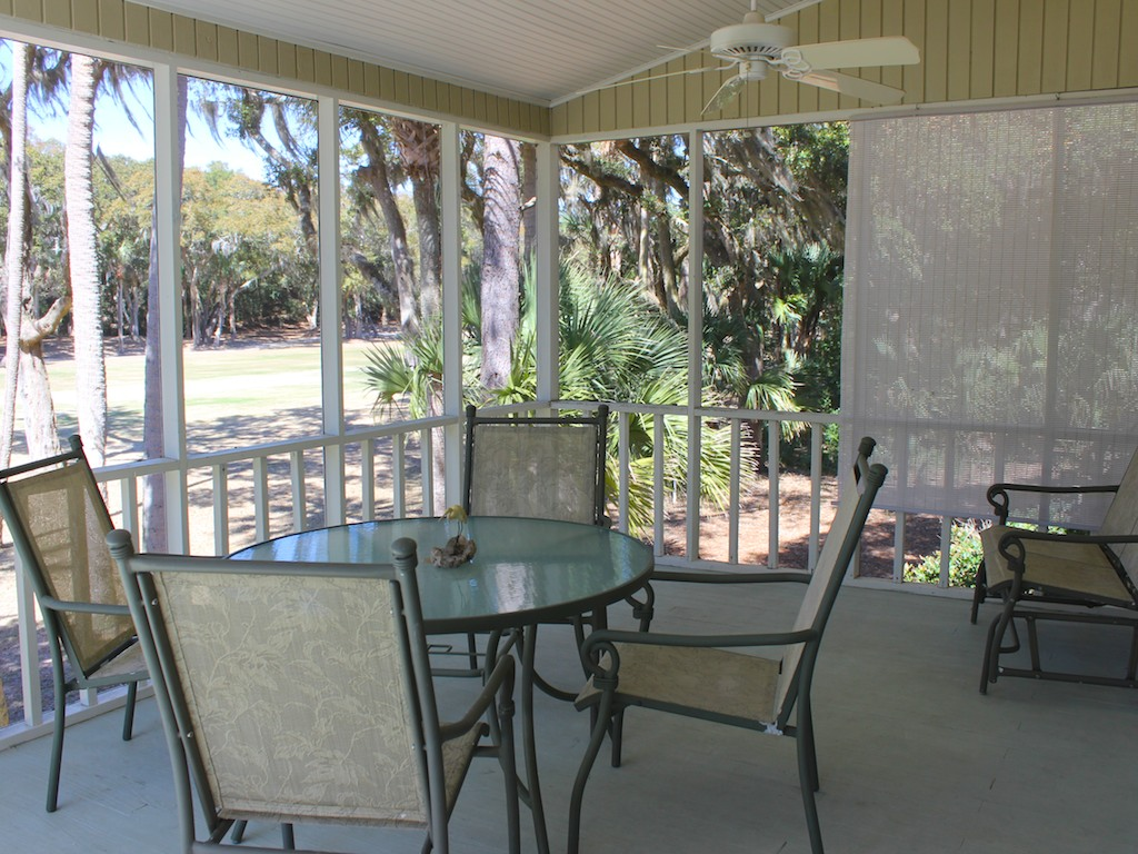 You will love spending time on the screened porch. It has golf views.