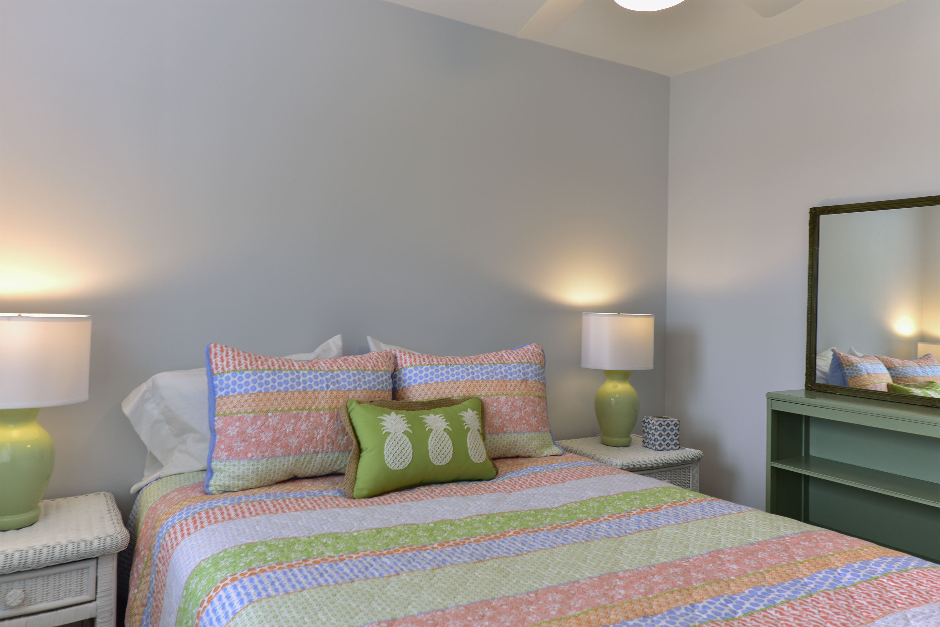 There are 2 guest bedrooms on the first floor.  The first has a queen size bed.