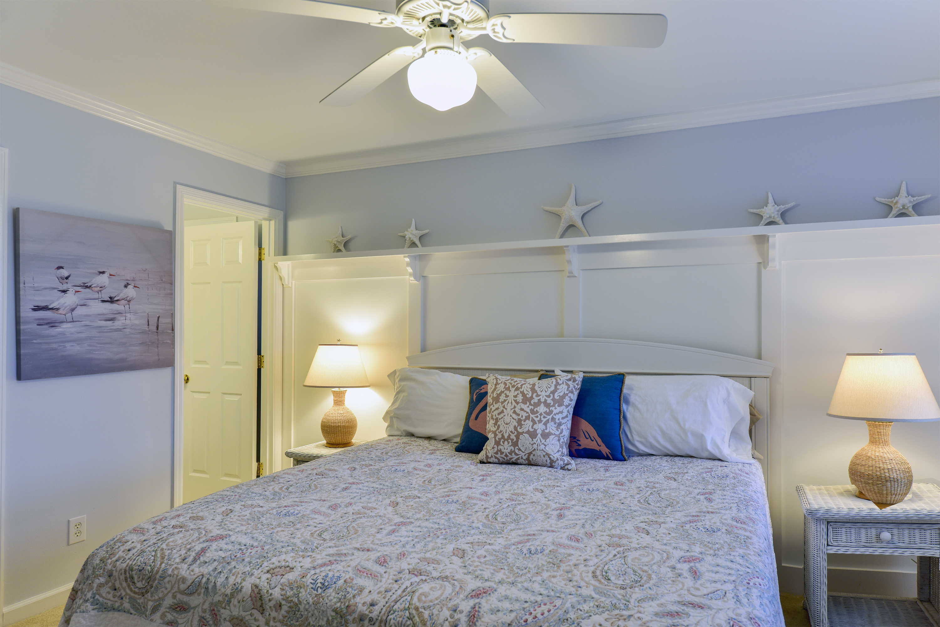 Enjoy the king size bed and HDTV.