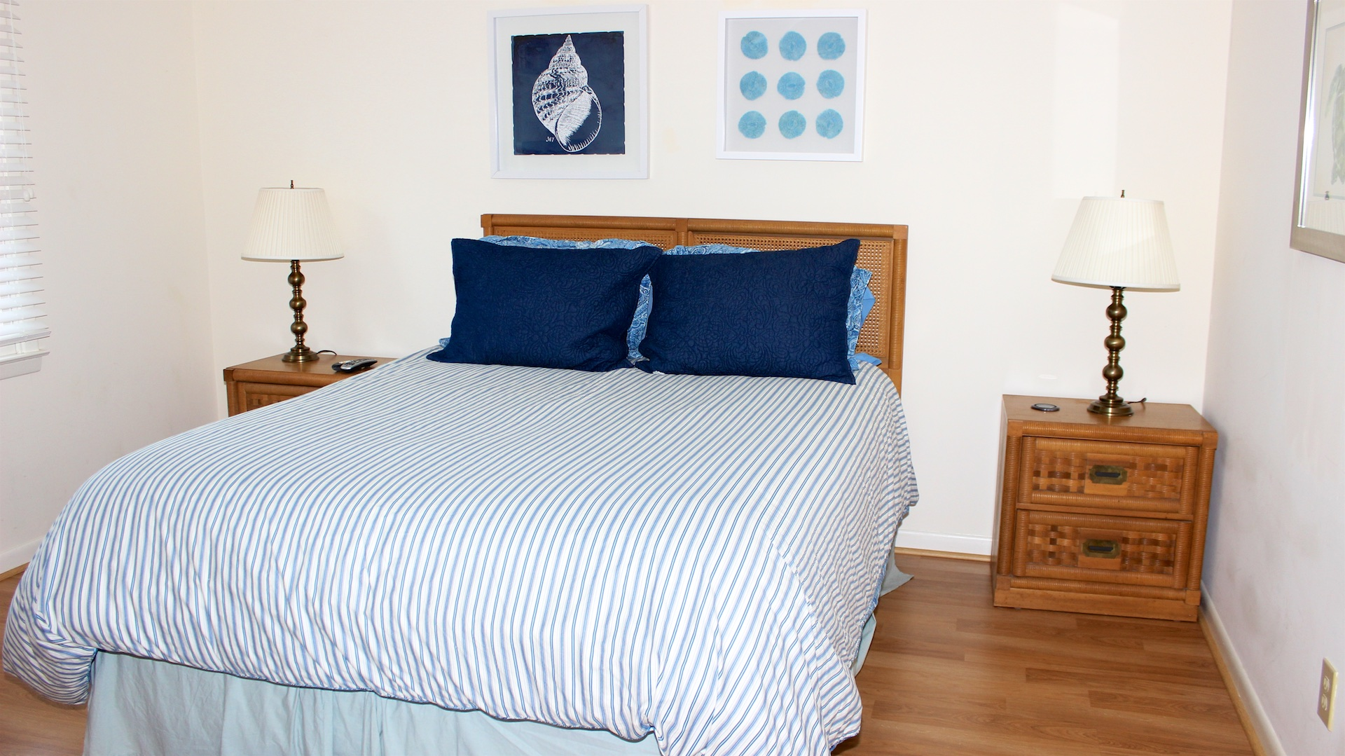 The master bedroom is on the first floor and has a queen bed.