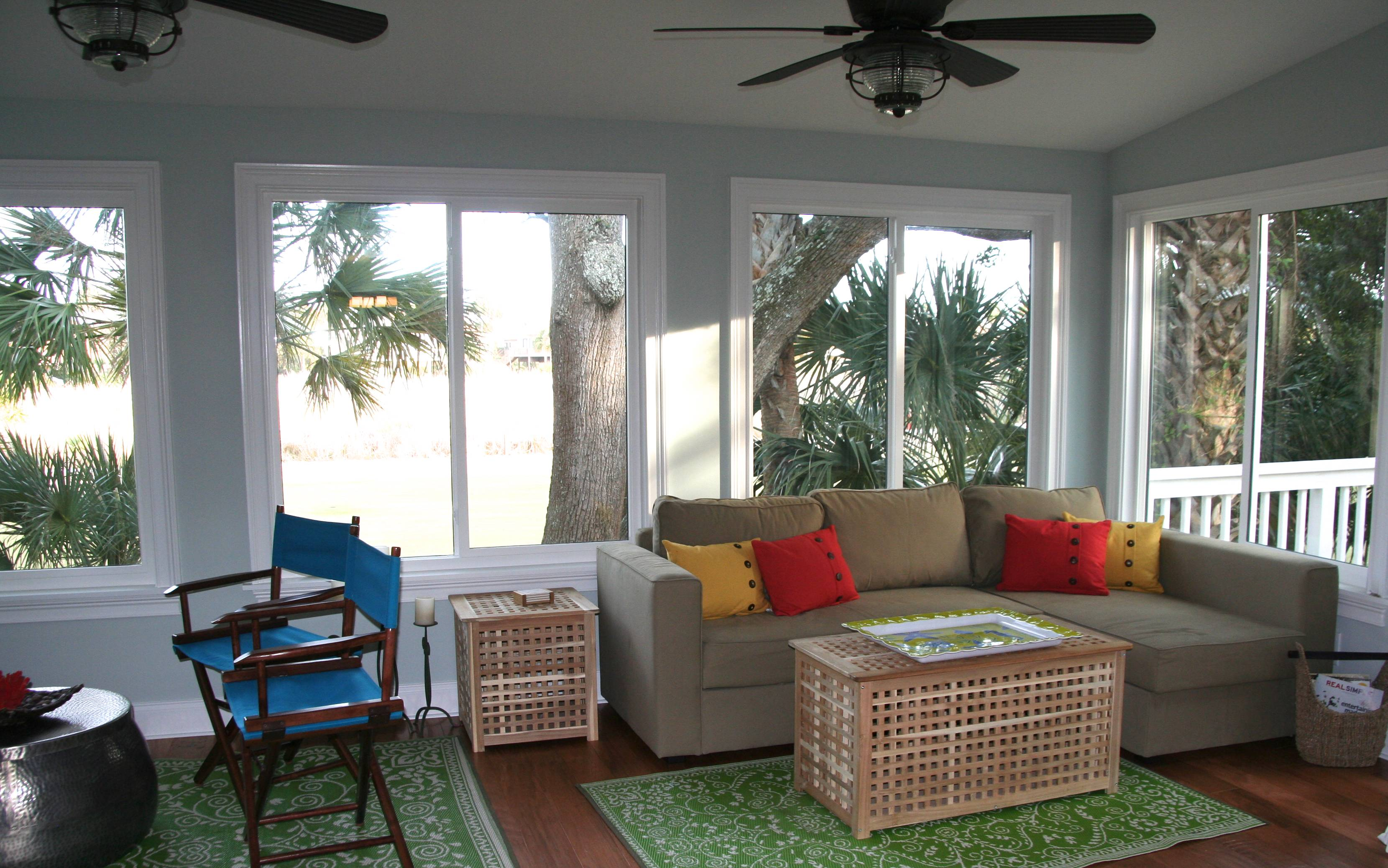 The living area was extended with this creation of an all season room.