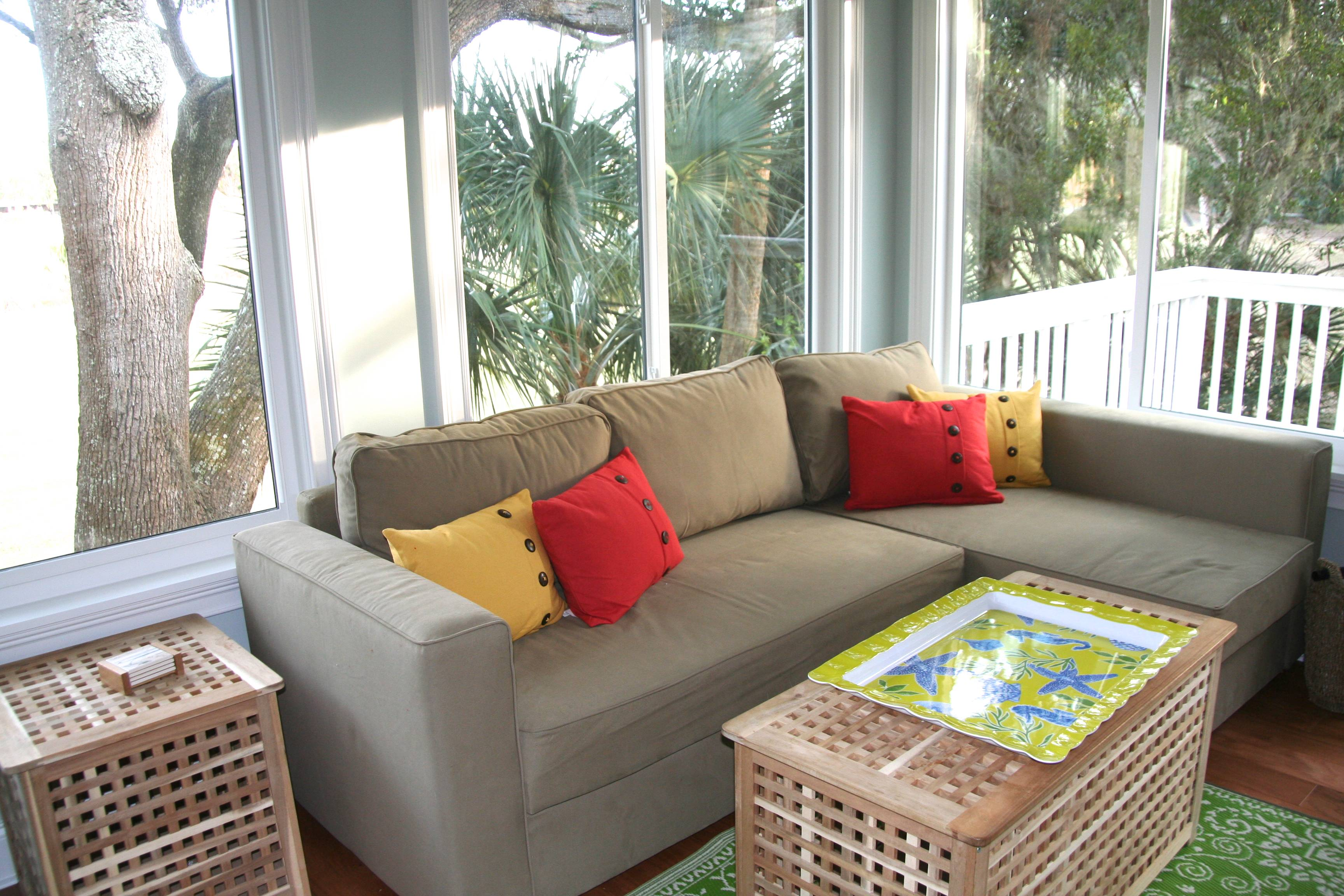 The sun room is a fabulous space to retreat with a good book or conversation.