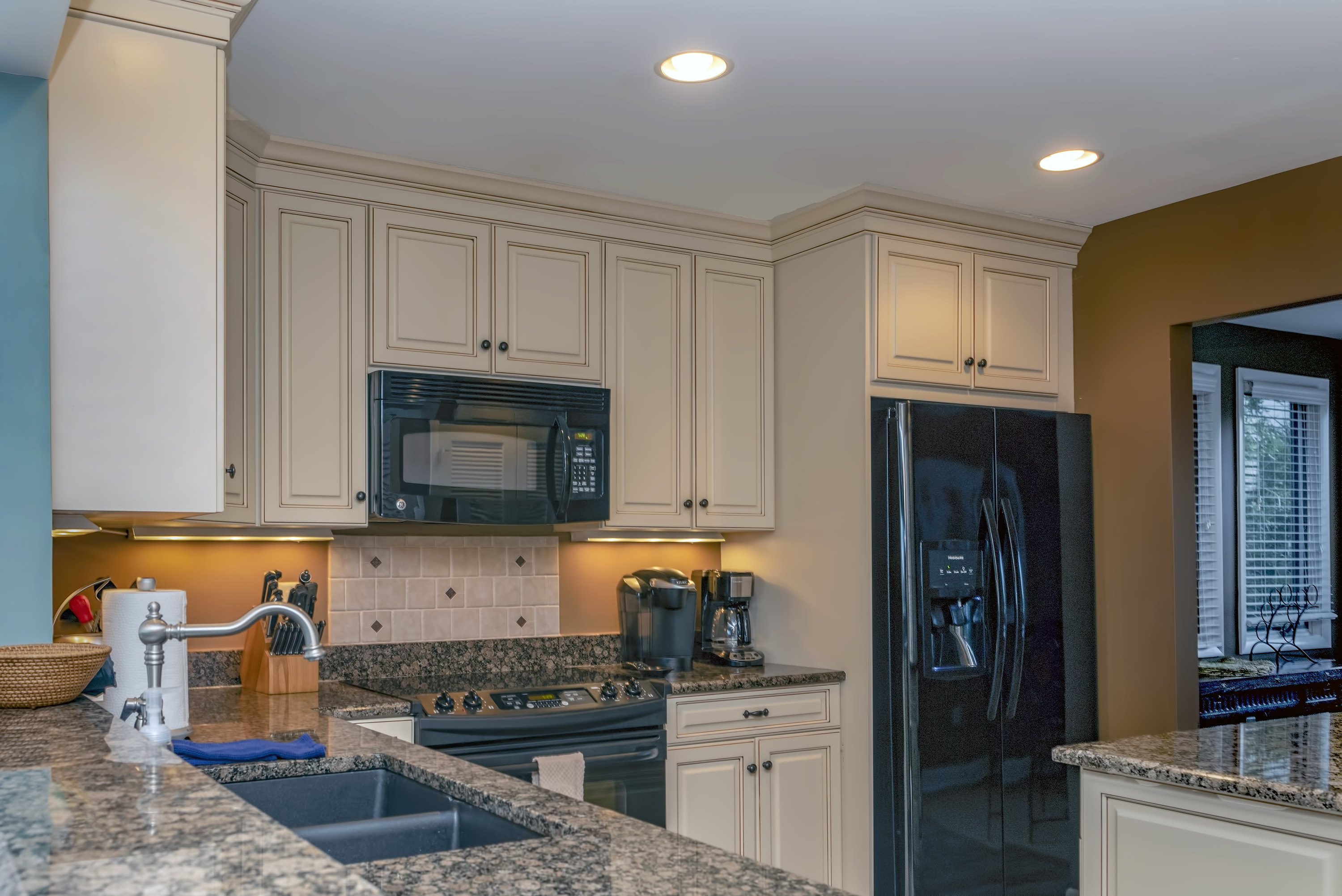 It also has updated appliances, cabinets, and a Keurig and regular coffee maker.