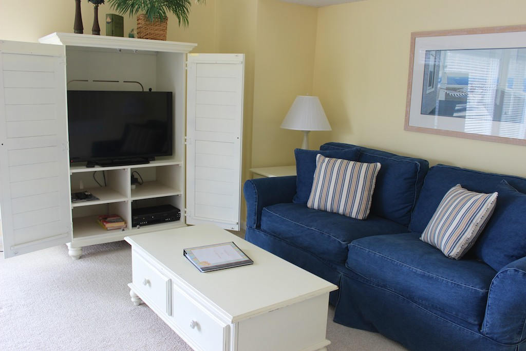 Enjoy watching your favorite show or movie on the large TV.