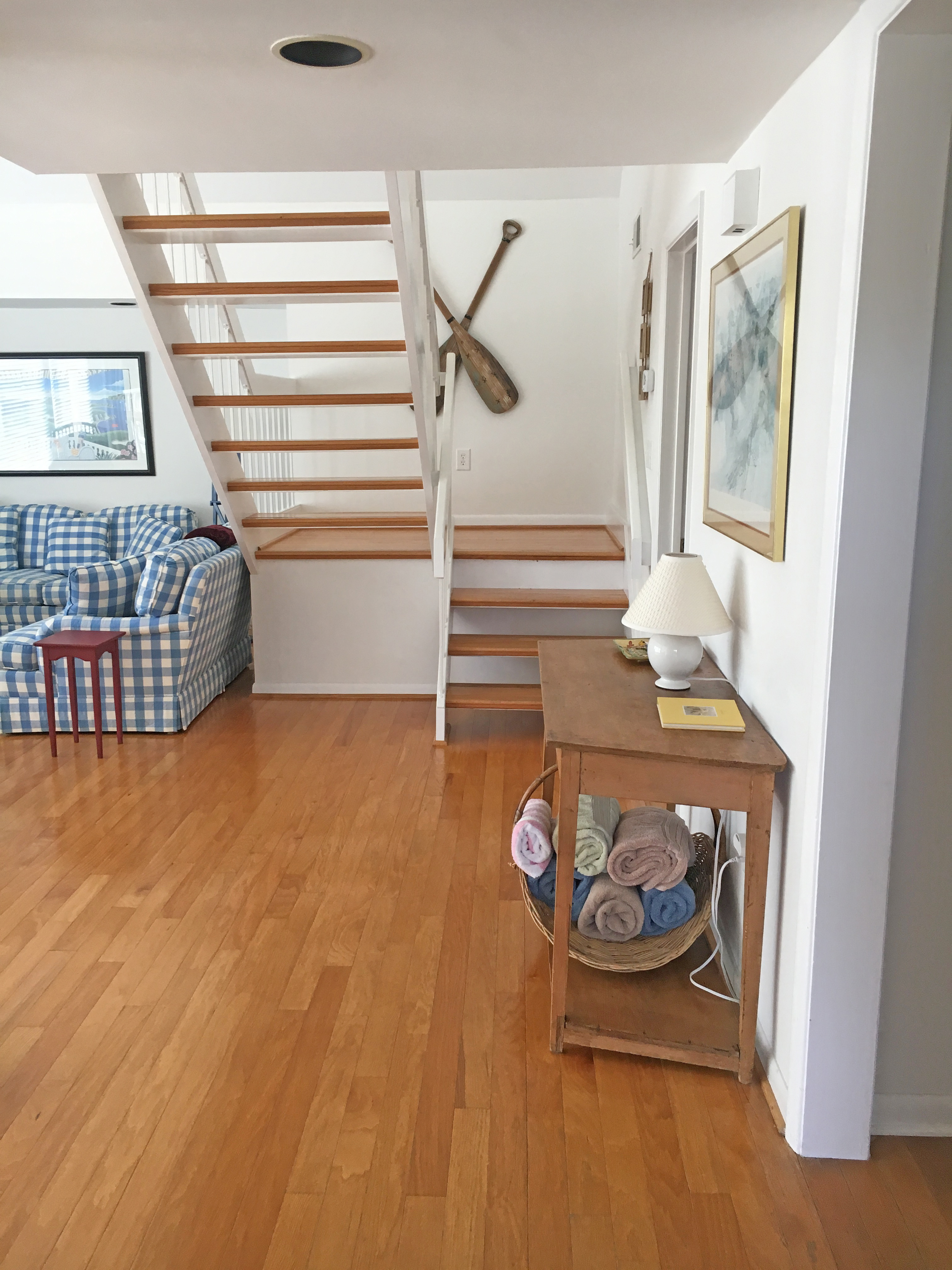 Walk in the front door to the open floor plan. A basket with towels for your dog is under the table.