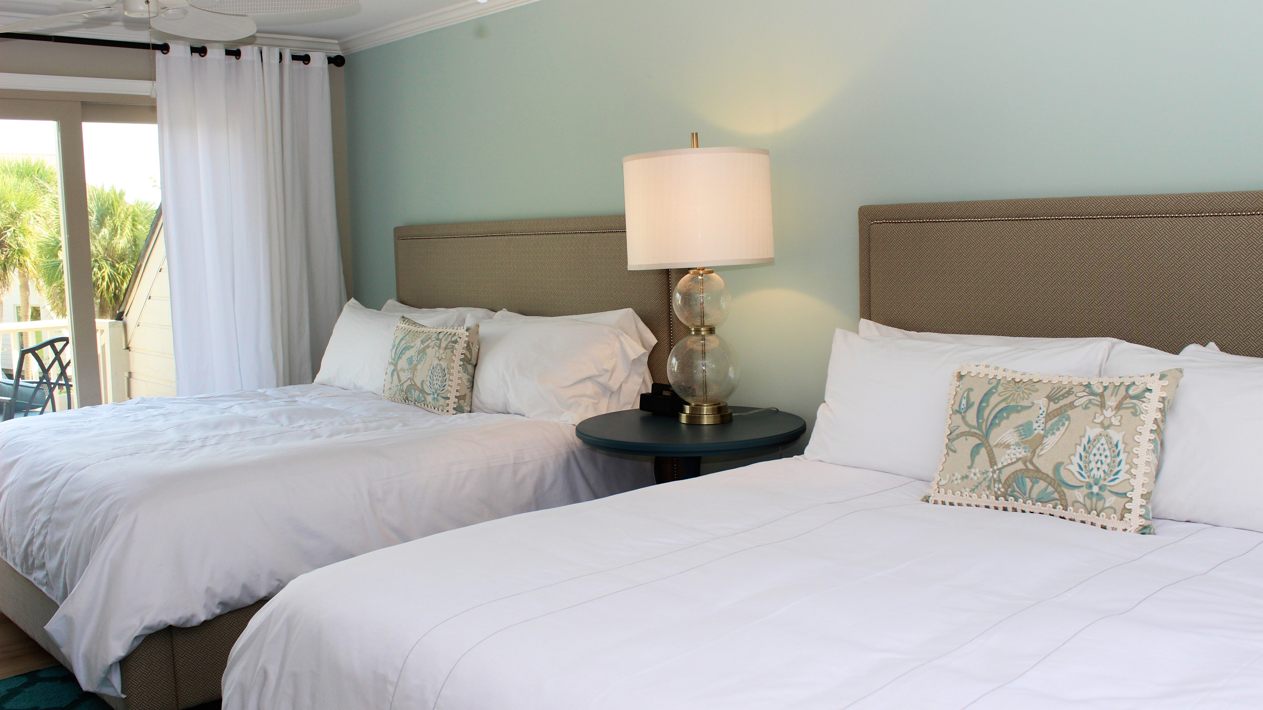 The upstairs master bedroom has two king beds.