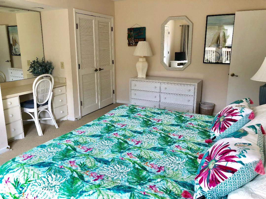 Enjoy the bright new bedding in the master bedroom!