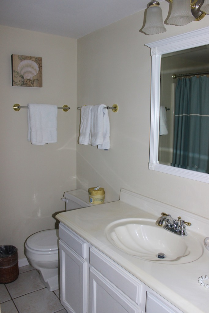 The hall bath is just steps away and has a shower/tub.