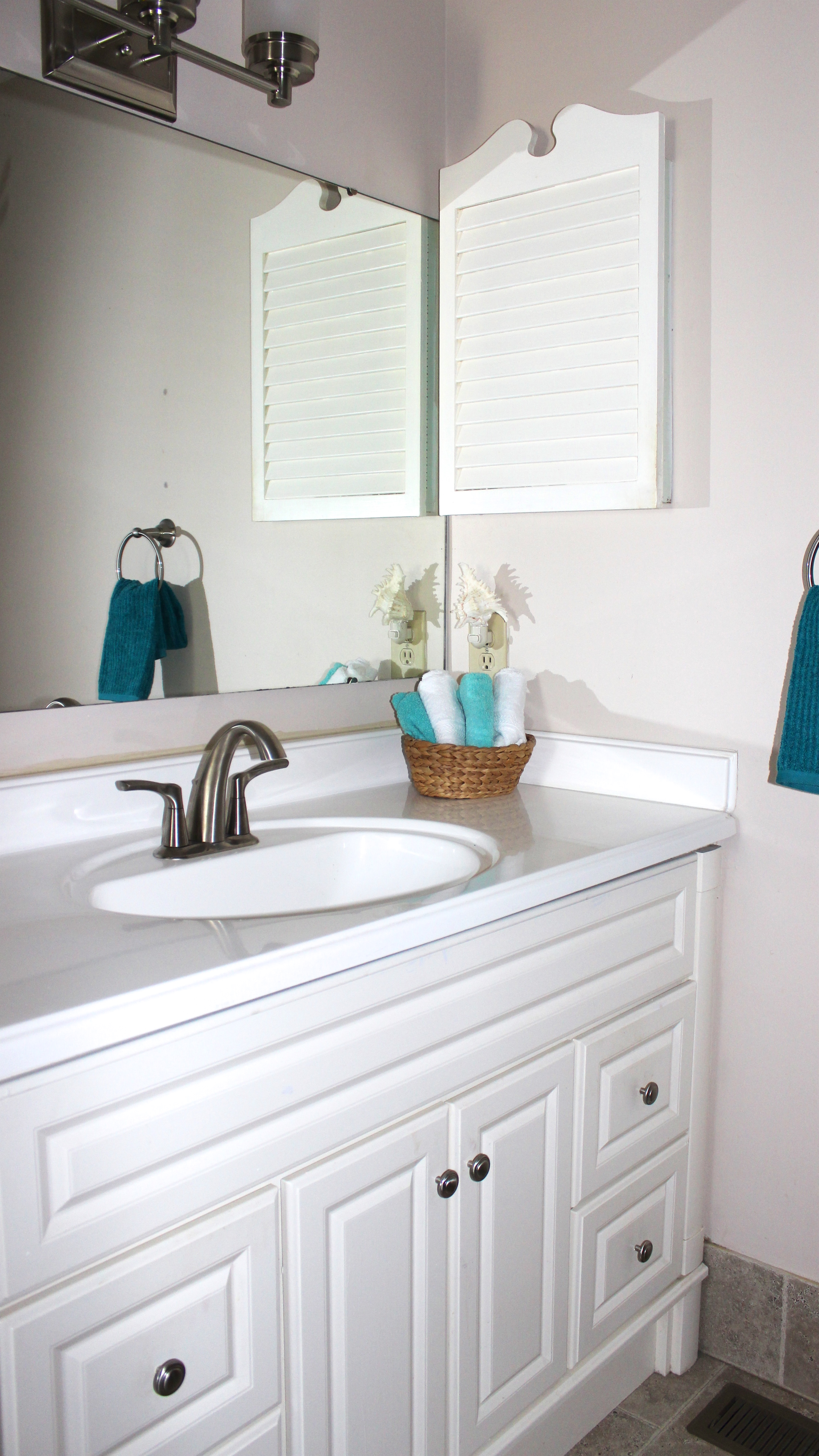 The en suite master bath has a large vanity for your use.