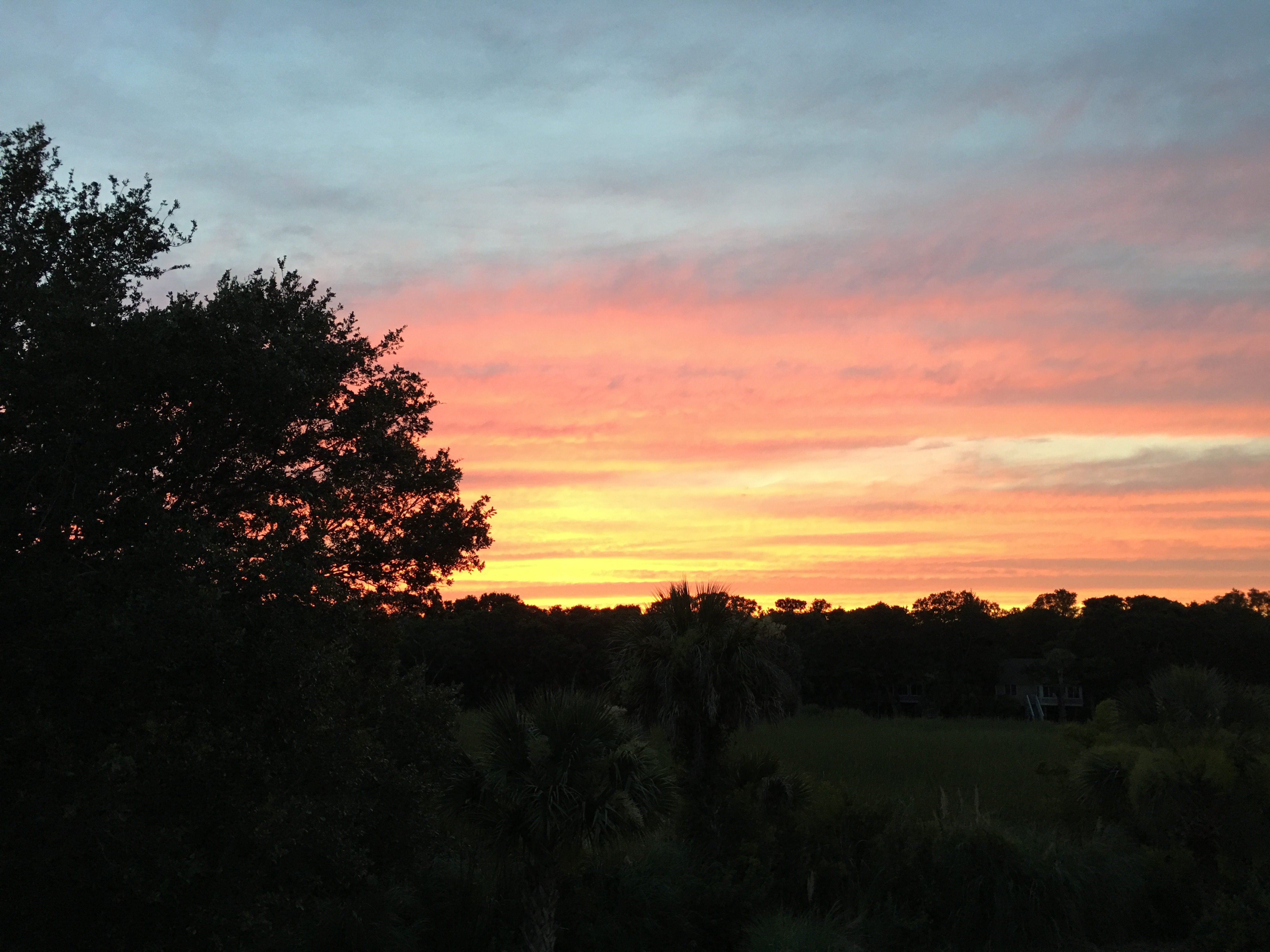 Sunset from Entrance Deck and Backyard