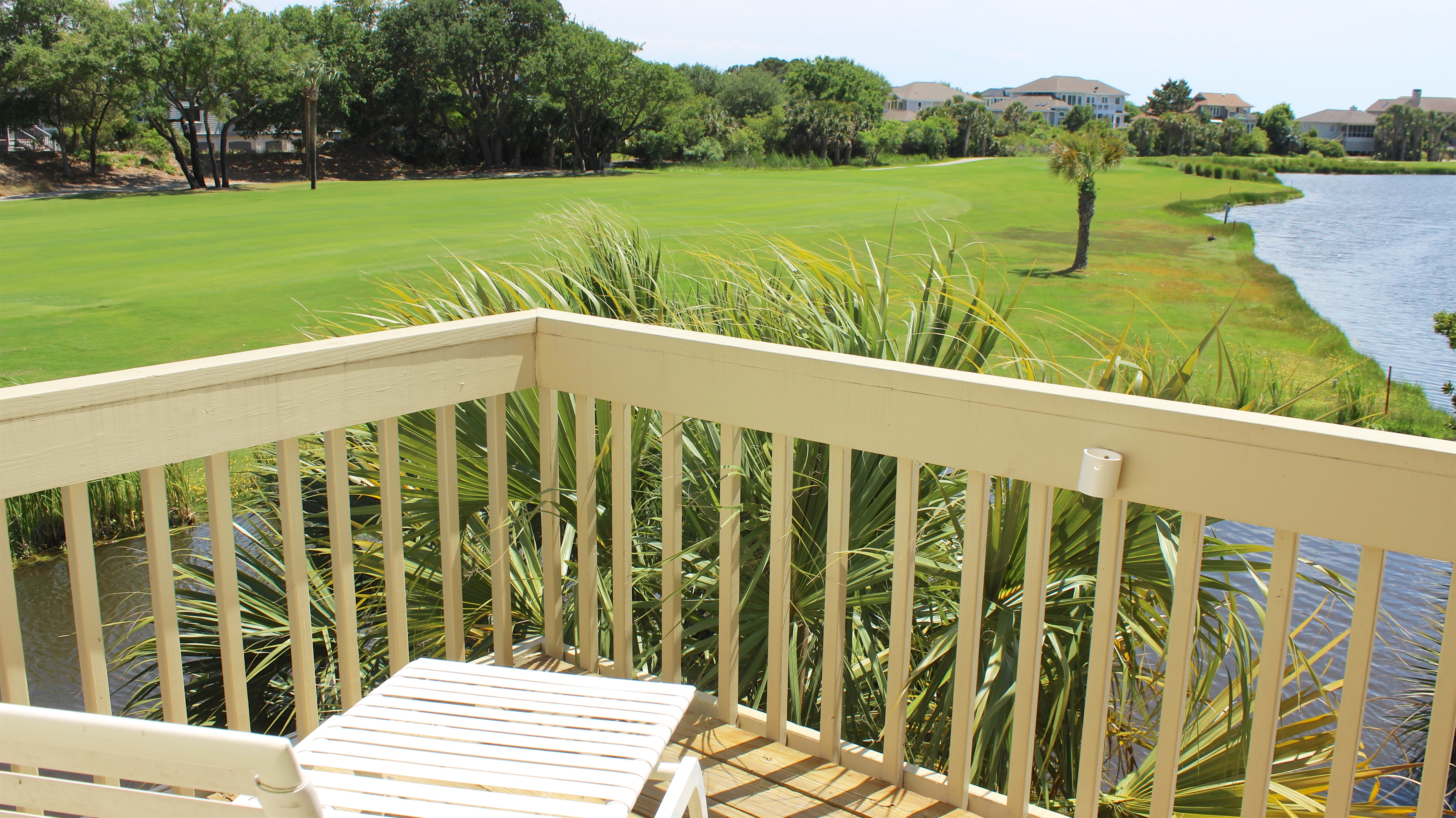 The deck has two lounge chairs perfect for catching the afternoon sun.