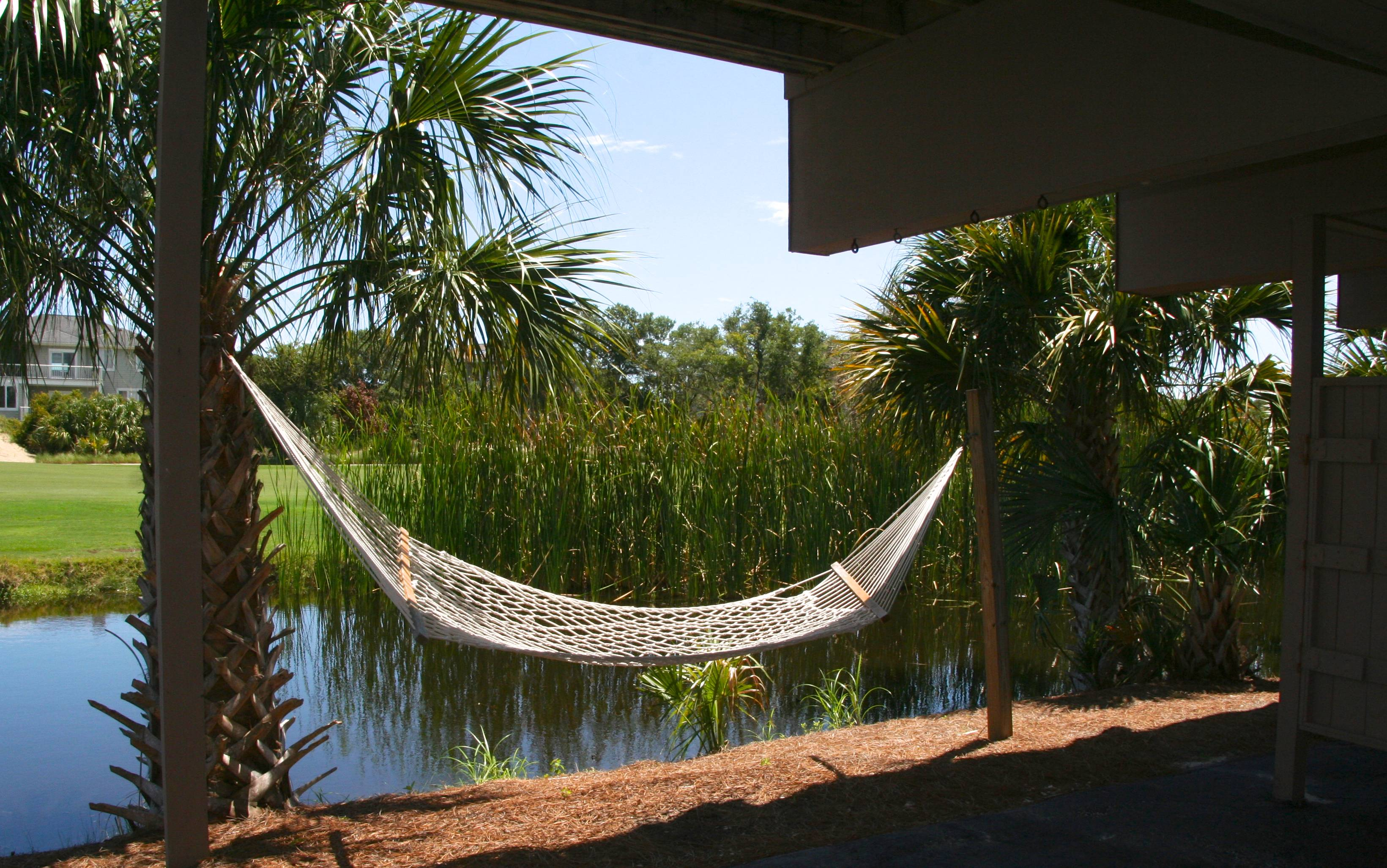 Swing in the hammock while waiting for your burgers to cook.