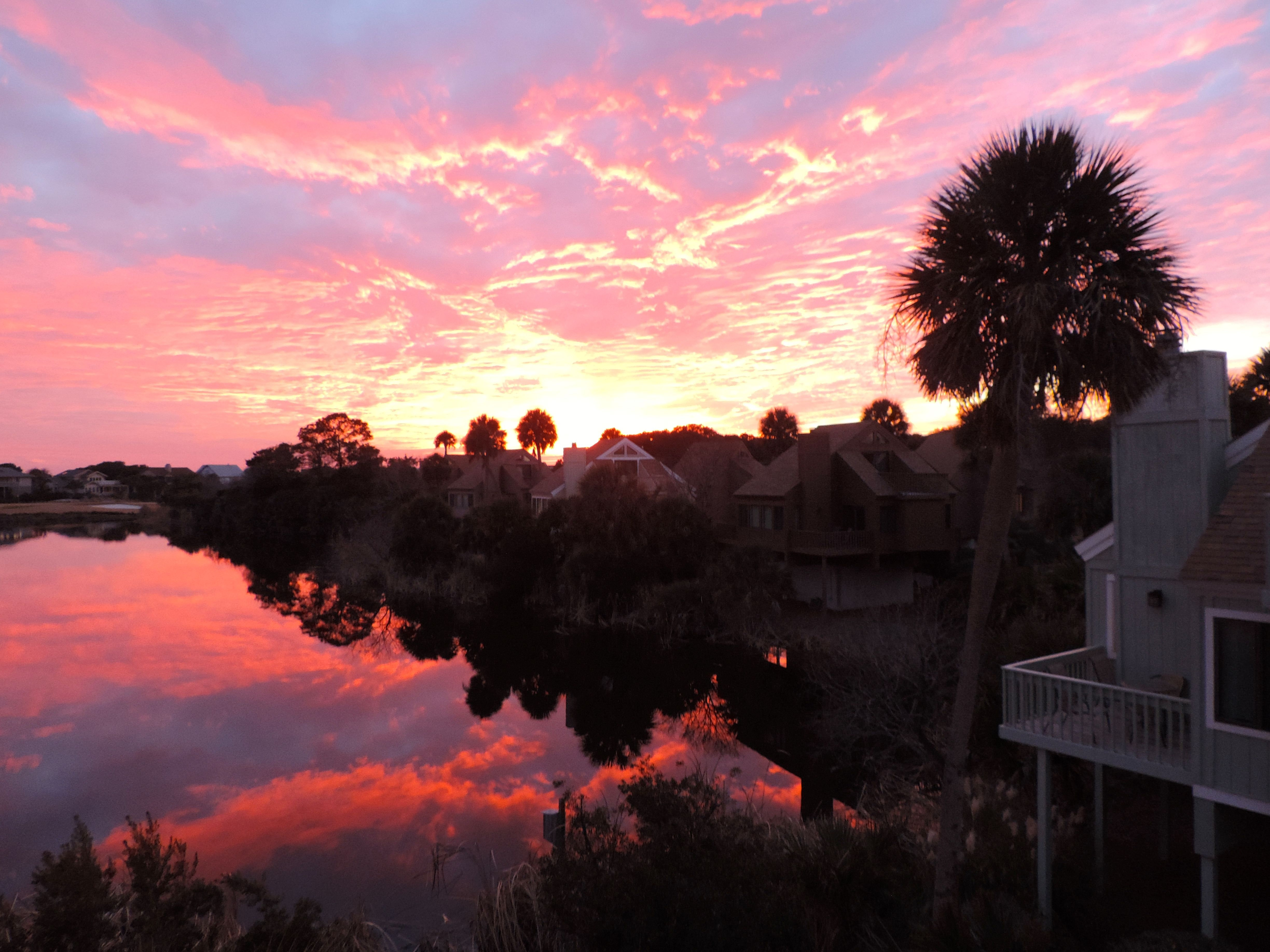 The views of the setting sun over the lagoon are spectacular.