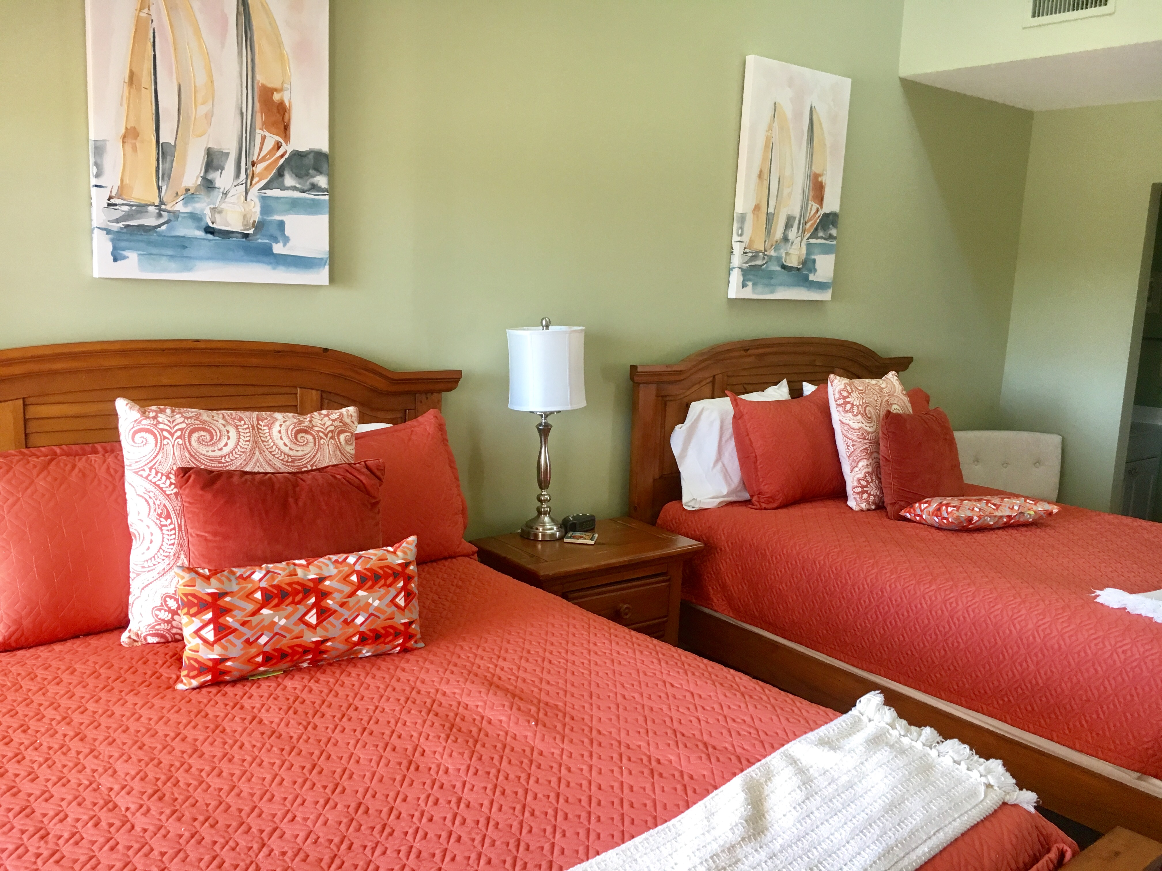Two queen beds with are in the 2nd bedroom.