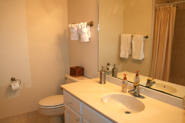 Both bedrooms are steps from the hall bath has a over-sized vanity.