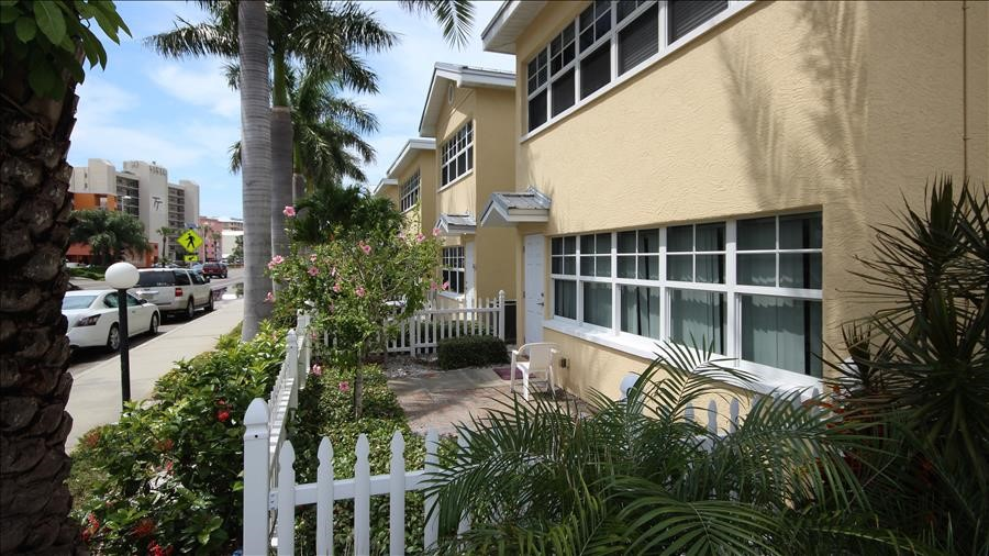 Side of one of the Barefoot Beach Resort Complexes