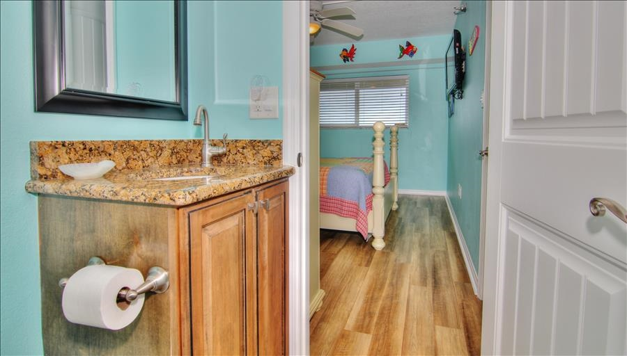 Guest Bath Connects to Room