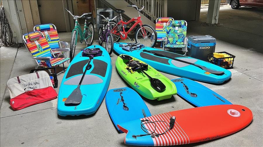 Kayaks, Paddleboards, Boogie Boards, Bikes, Chairs, etc.