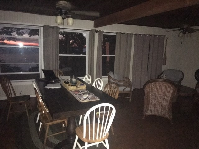 Angola Beachfront Vacation Rental - Dining Room viewing the Sunset