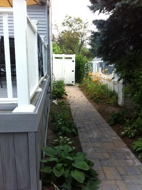 Flagstone walkway with outdoor shower