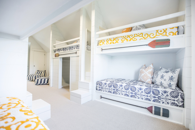 Beautiful custom built-in bunk beds for all of the kids in your group!