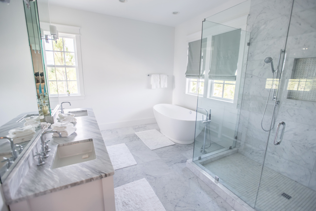 Master en-suite bathroom with double vanities, large walk-in shower, luscious soaker tub and very large walk-in closet