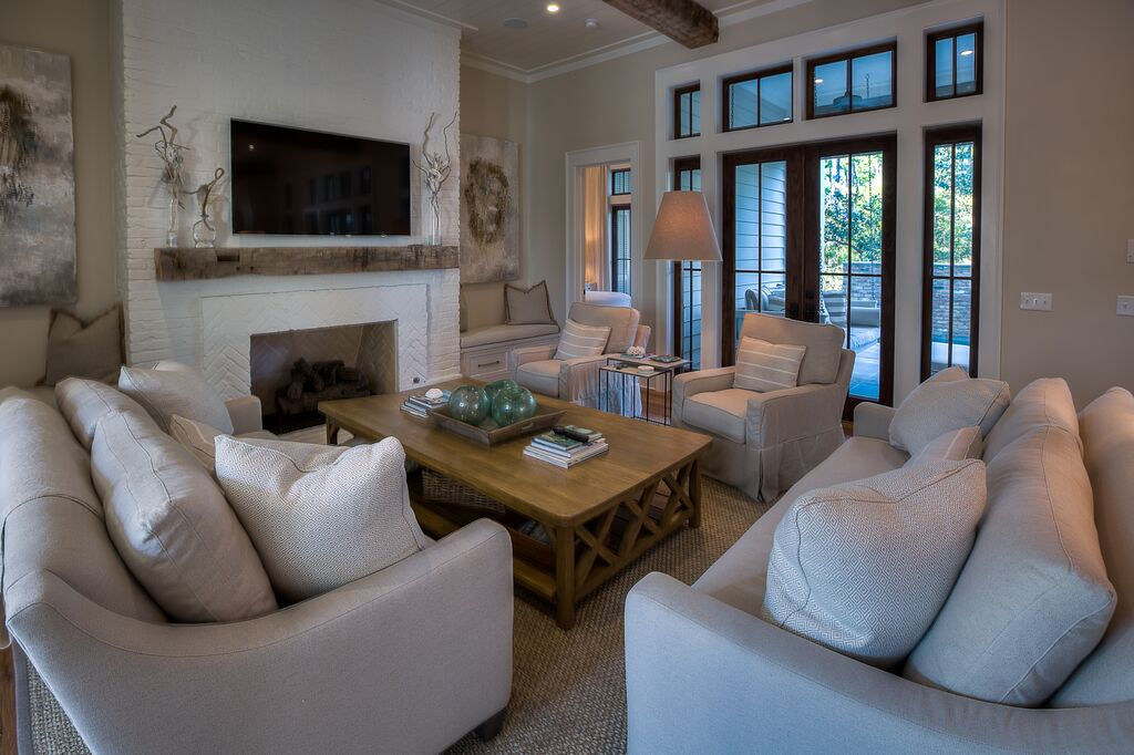Large Cozy Living Space with Gas Fireplace and Flat Screen TV