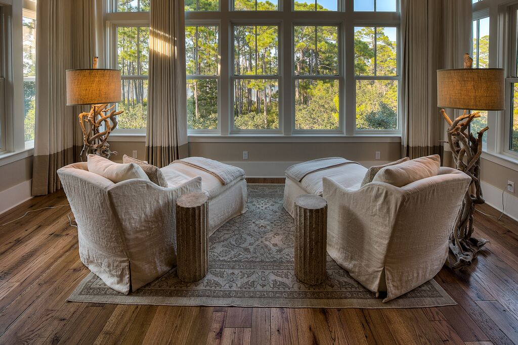 Private Master Sitting Area with Large Outdoor Balcony Overlooking Pool and Lake