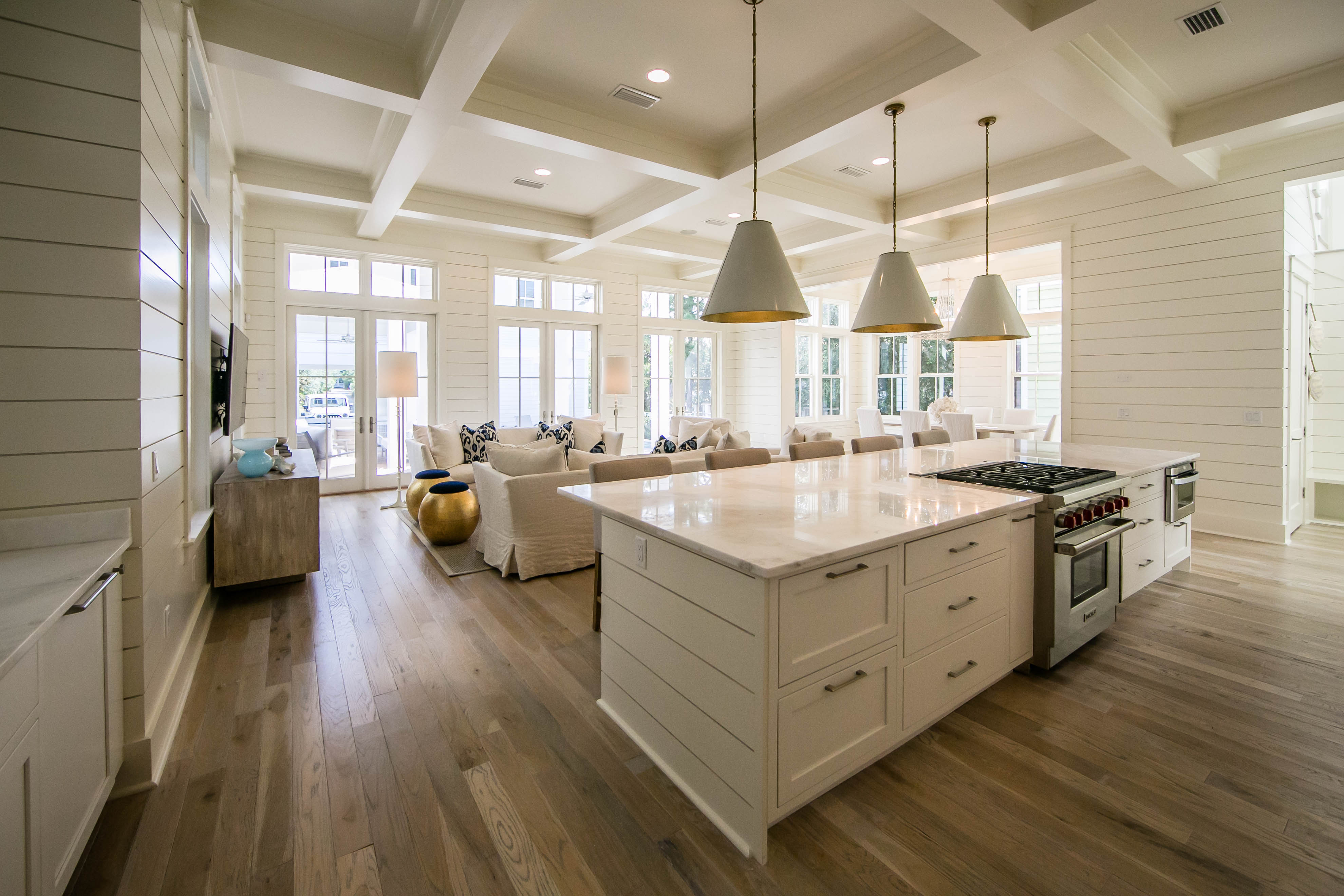 Expansive Kitchen Flowing into the Living Space