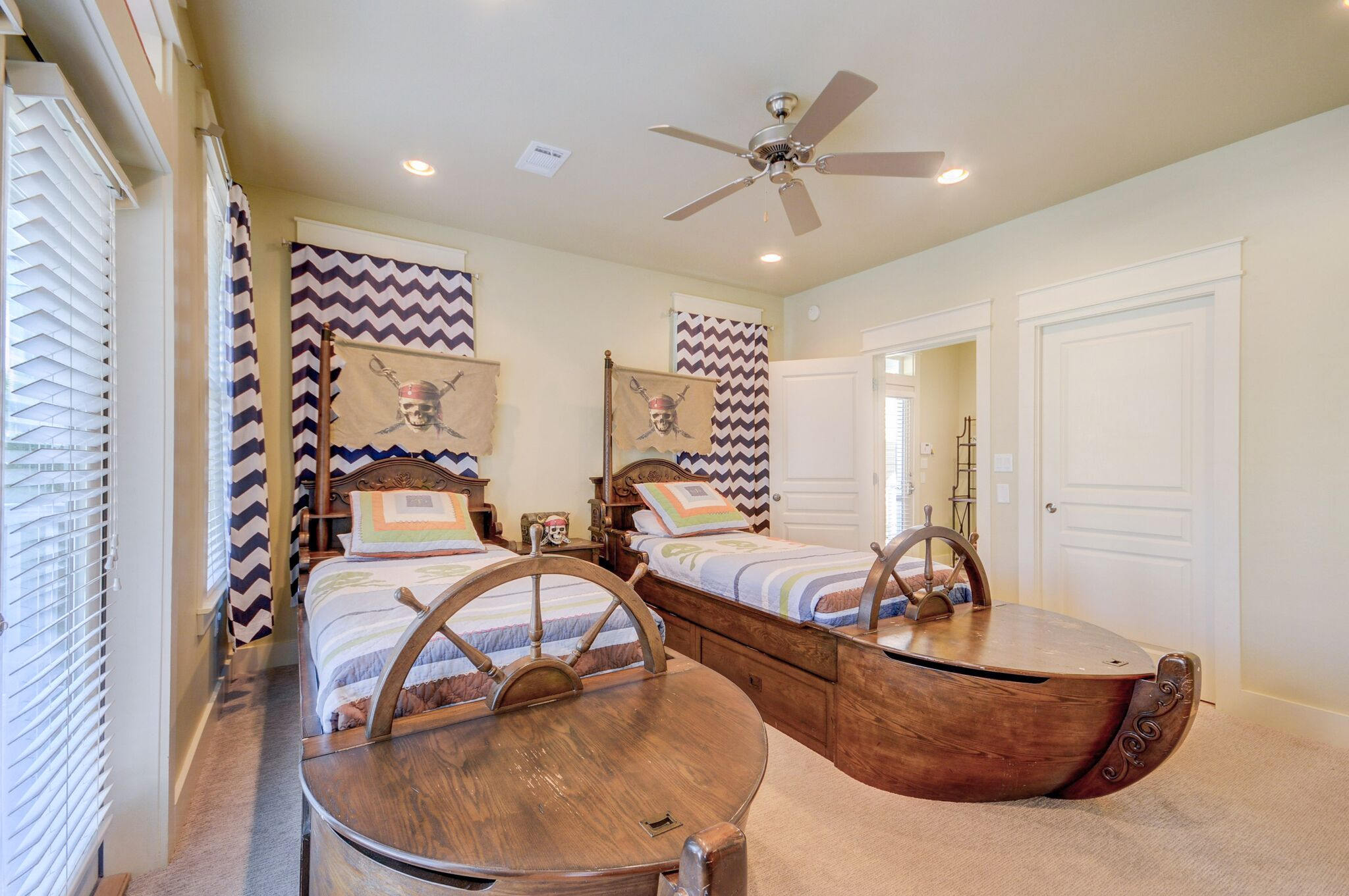 Bedroom #2 is an Adorable Pirate Themed Bedroom with 2 Twin Beds and 1 Trundle Bed on 1st Floor