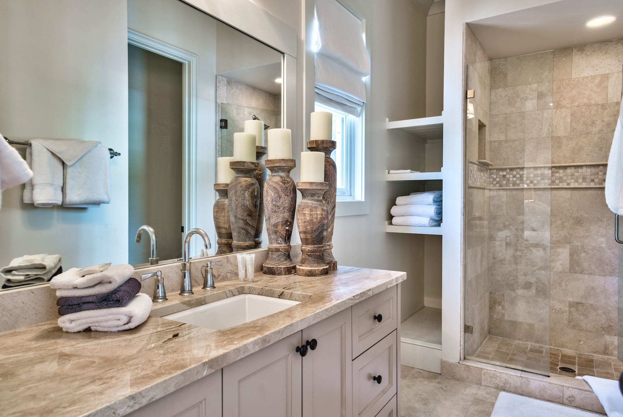 1st floor master bathroom with Large, walk-in shower