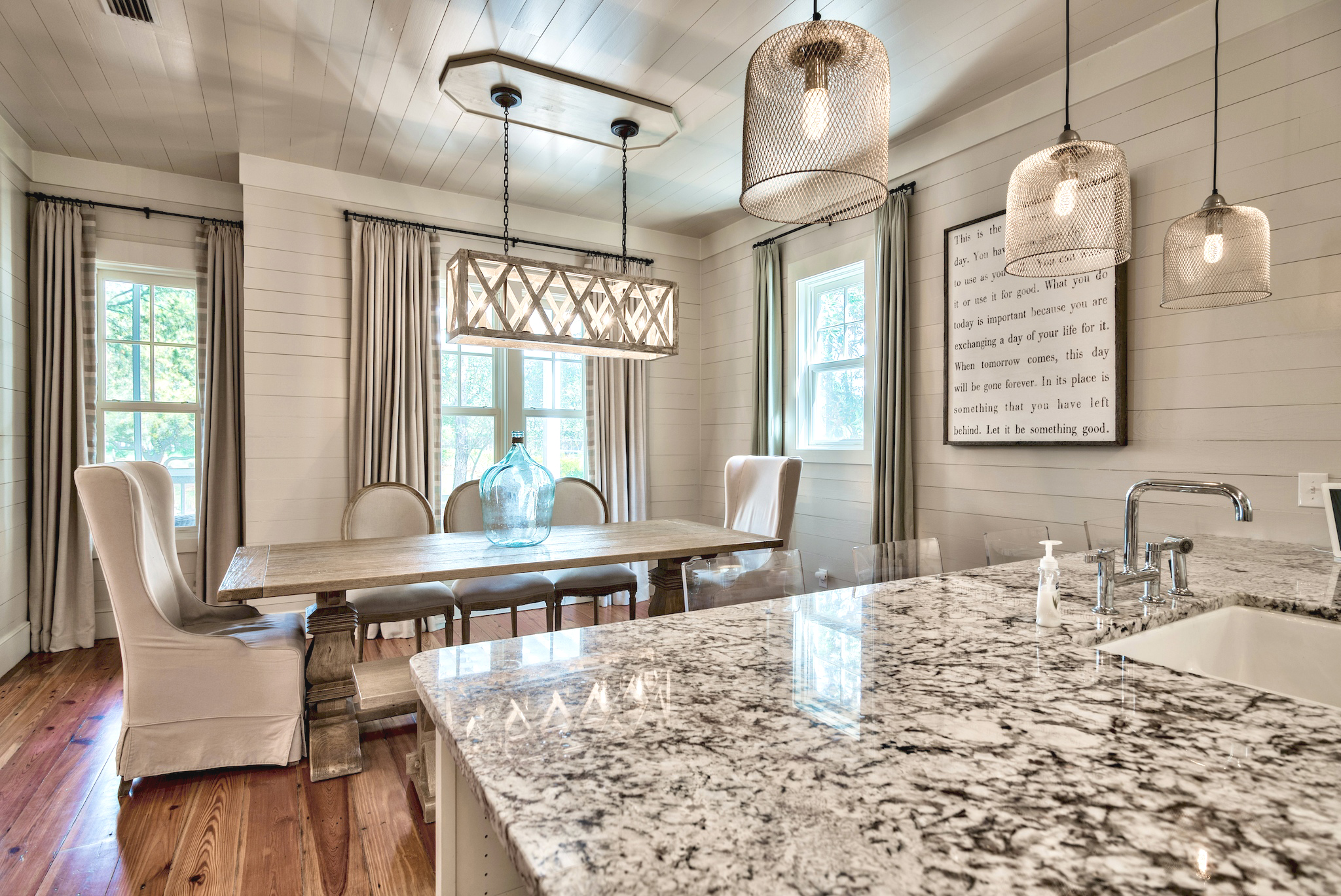 Dining Room opens to Kitchen & Living Room.  Table Seating for 8, Bar Seating for 4